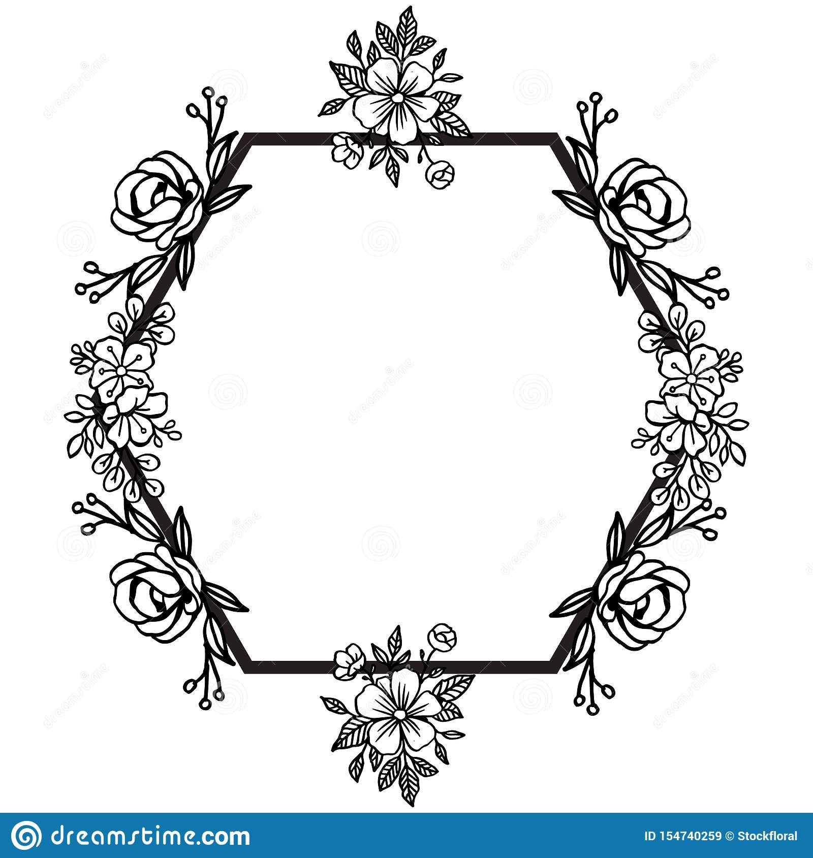 Art unique with border design frame beautiful drawing of