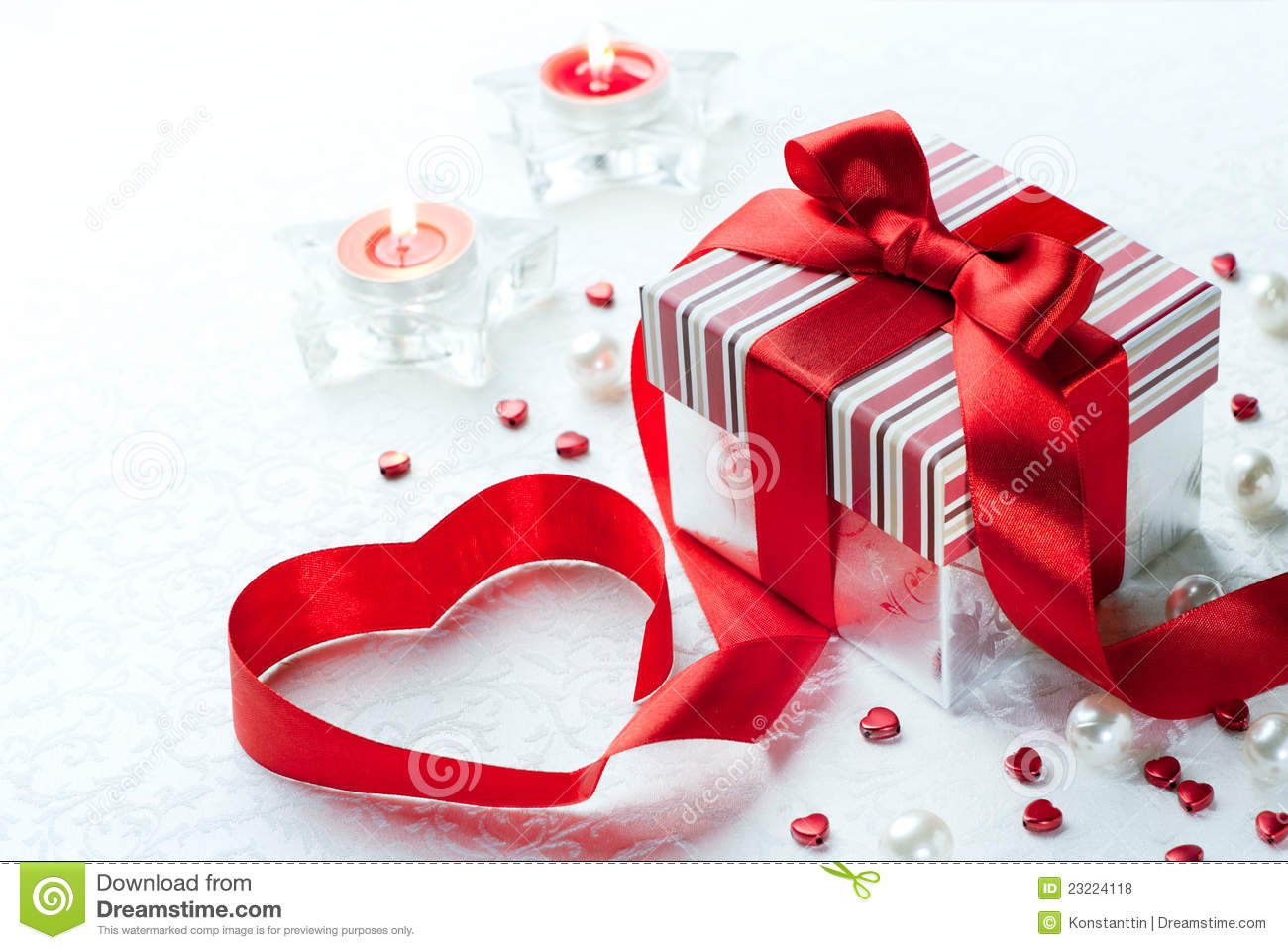 Art Valentine Day Gift Box Red Ribbon Heart Stock Photo Image Of