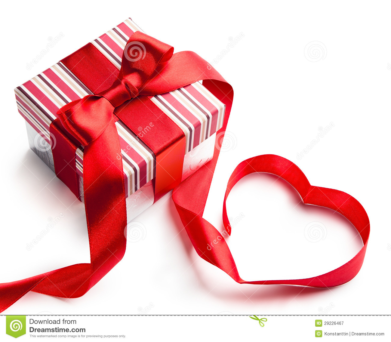 Art Valentine Day Gift Box On White Background