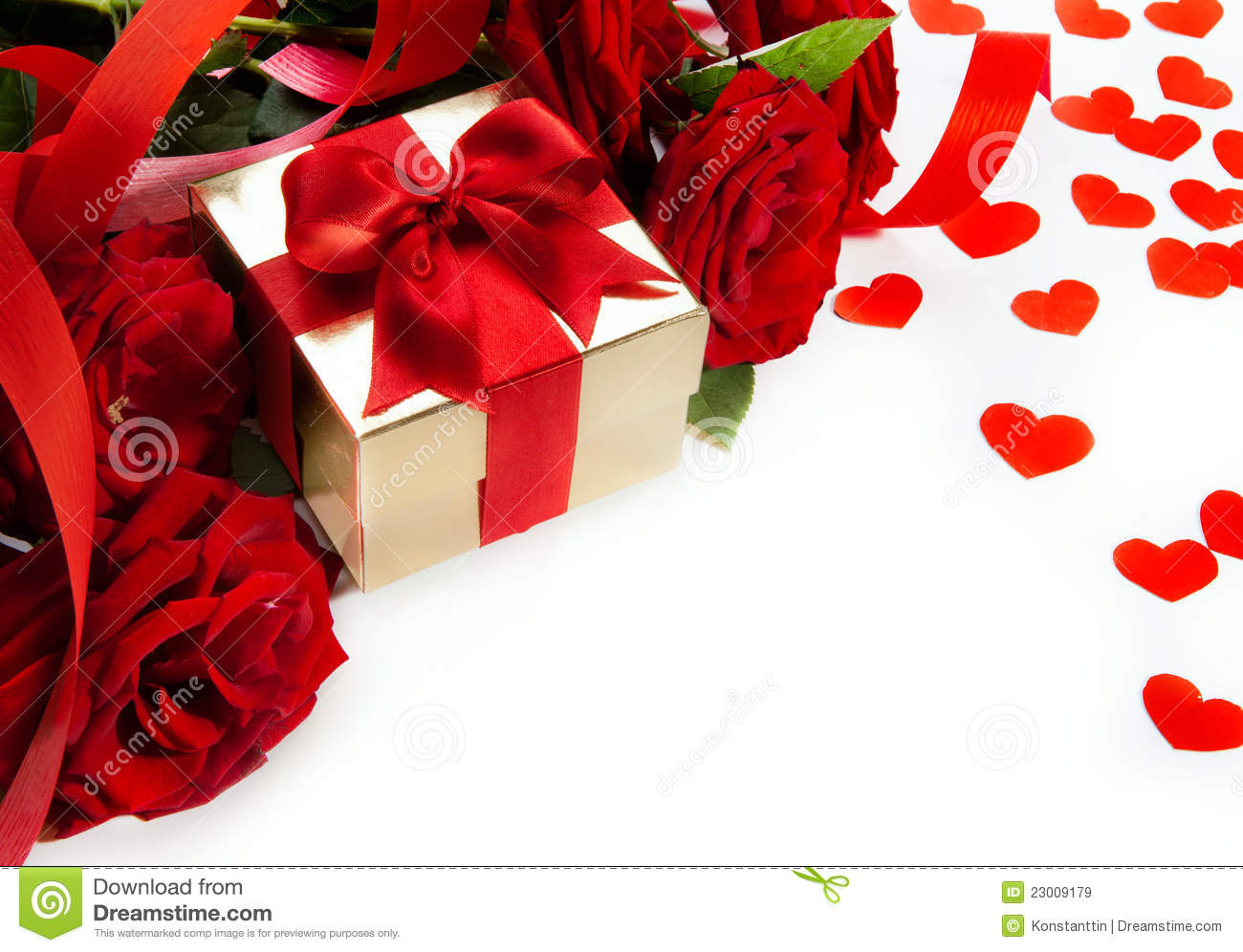 art valentines red roses and gift box stock image
