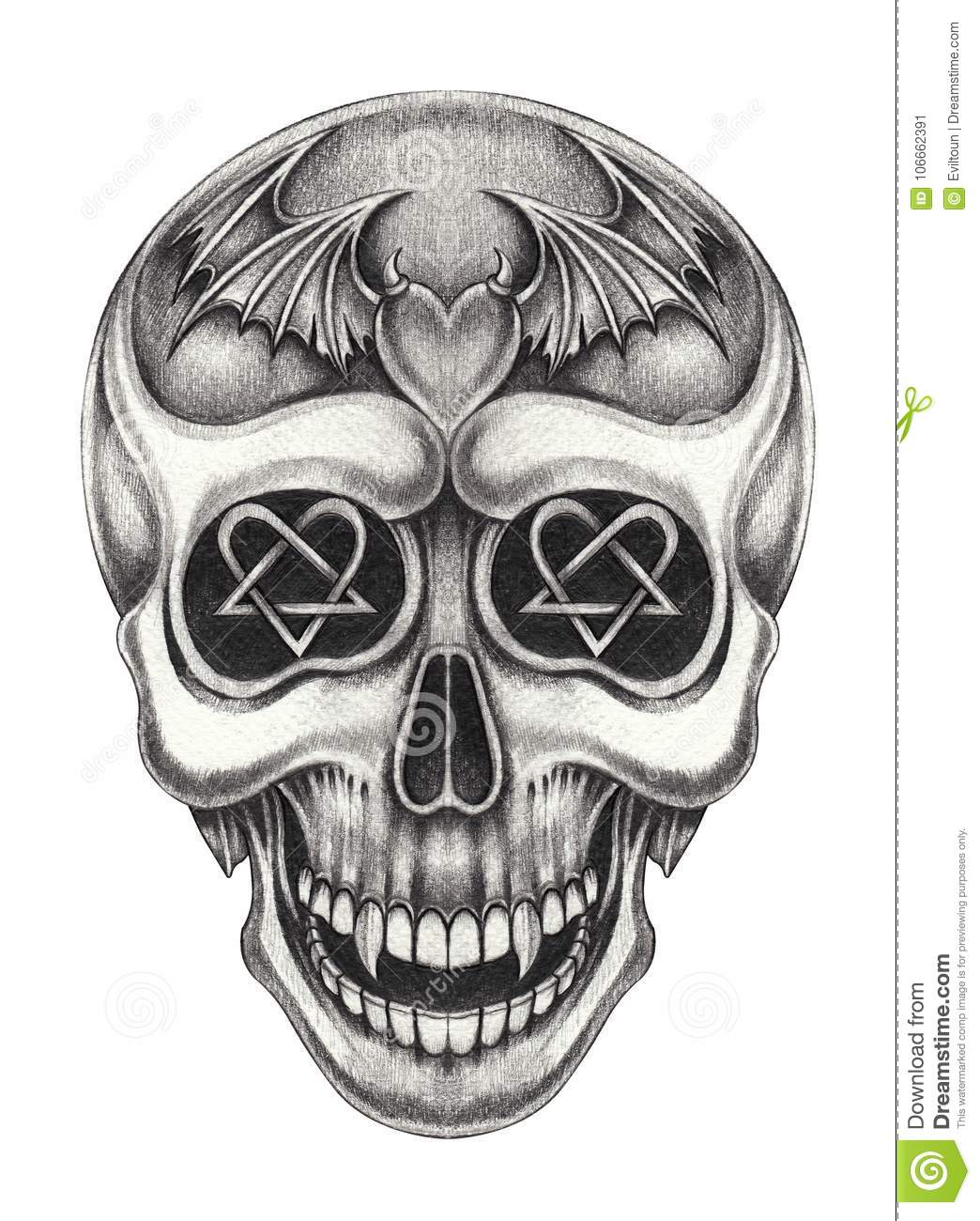 Art vampire skull tattoo stock illustratie illustratie for Vampire skull tattoo