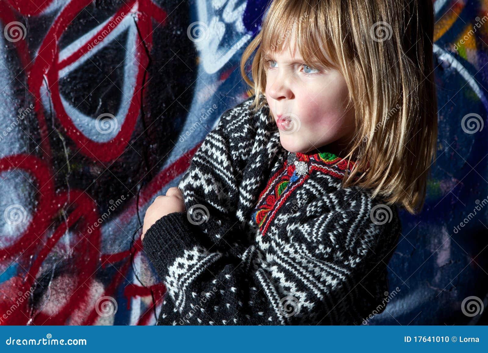 Art. van de het kind het koele straat van Graffiti