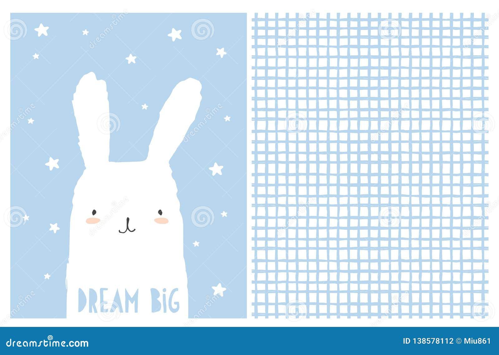 Art. van het droom het Grote Kinderdagverblijf Leuk Wit Bunny Vector Illustration Onregelmatig Wit en Blauw Netpatroon