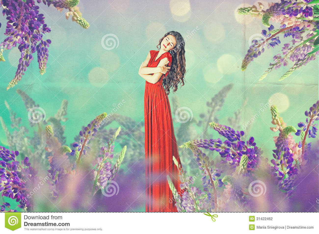 Art vintage collage with beautiful woman stock photography for Beautiful creative art