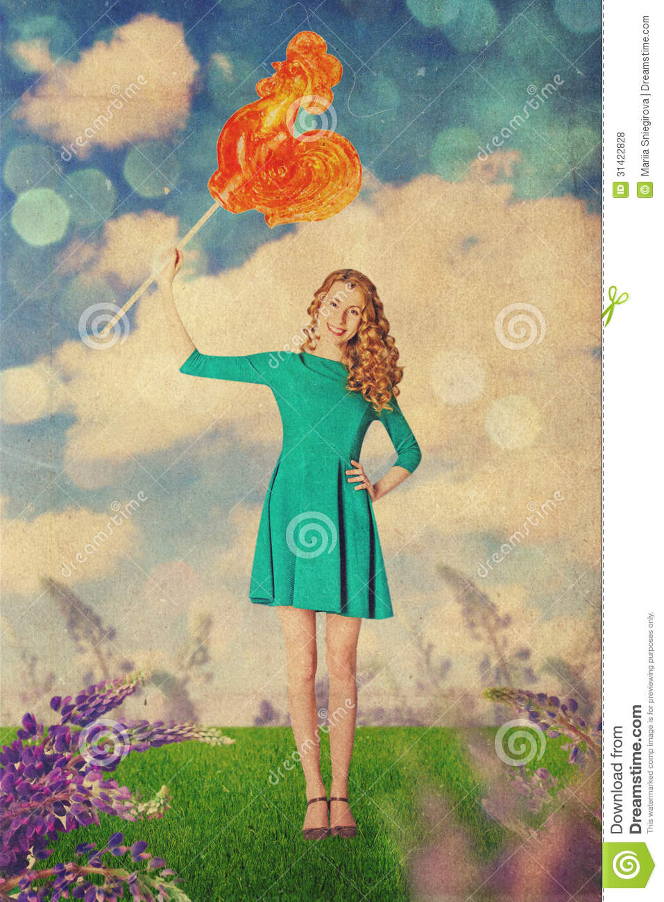 Art vintage collage with beautiful woman stock photo for Beautiful creative art