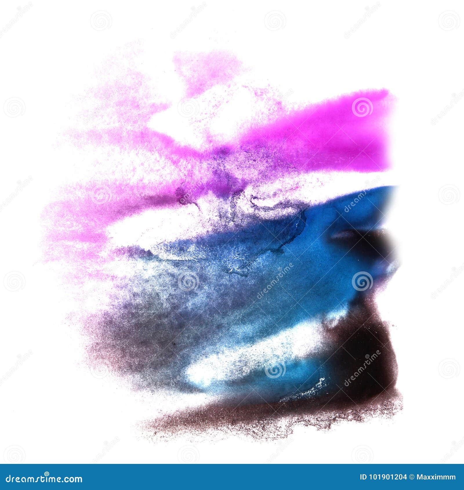 Art Violet, Watercolo Bleu-foncé Et Vert De Goutte De Peinture D ...