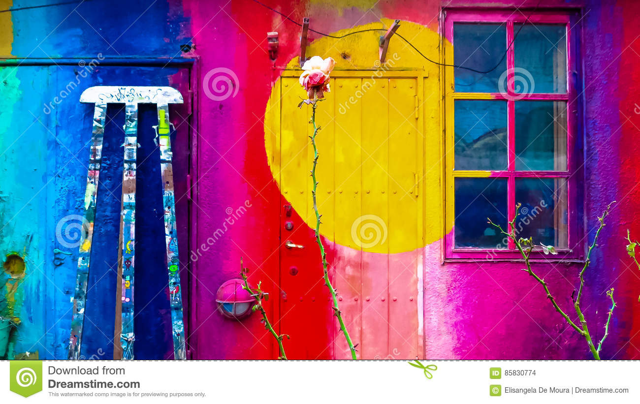 Art In Wall, Freetown Christiania, Denmark. Stock Photo - Image of ...