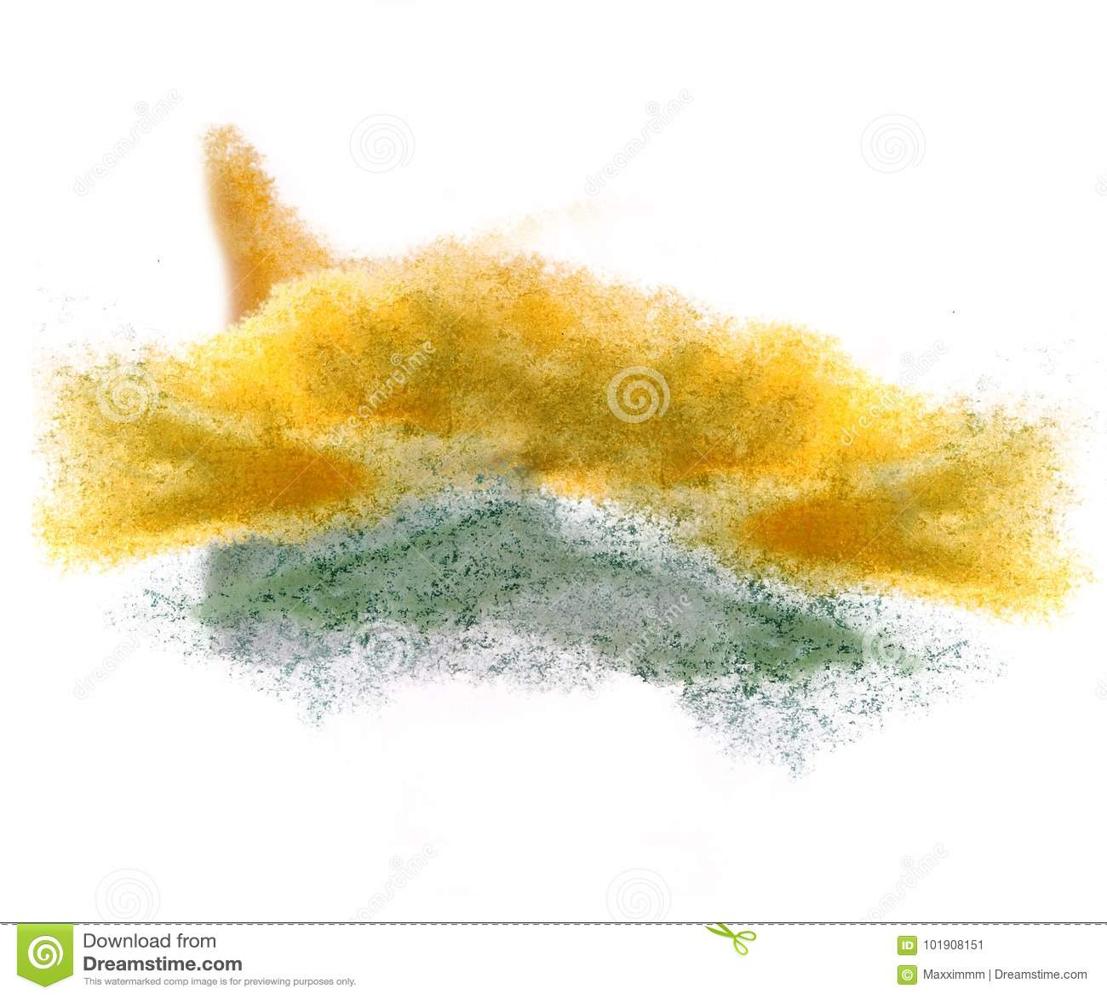 Art watercolor ink paint blob watercolour yellow, green splash