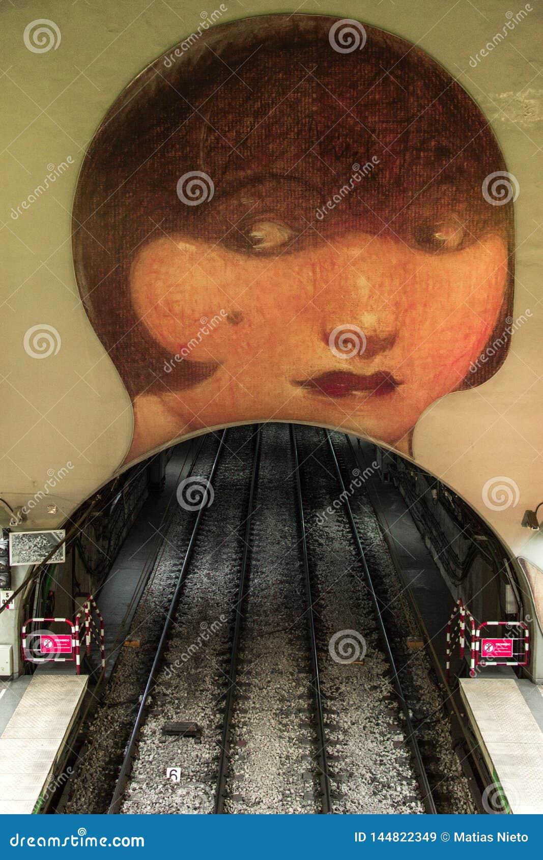 Art work in Venezuela subway station in H line, Buenos Aires Argentina