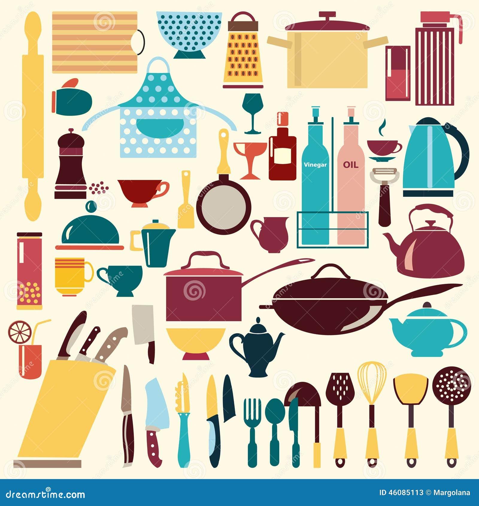 Art culos de cocina fijado ejemplo ilustraci n del for Articulos de cocina