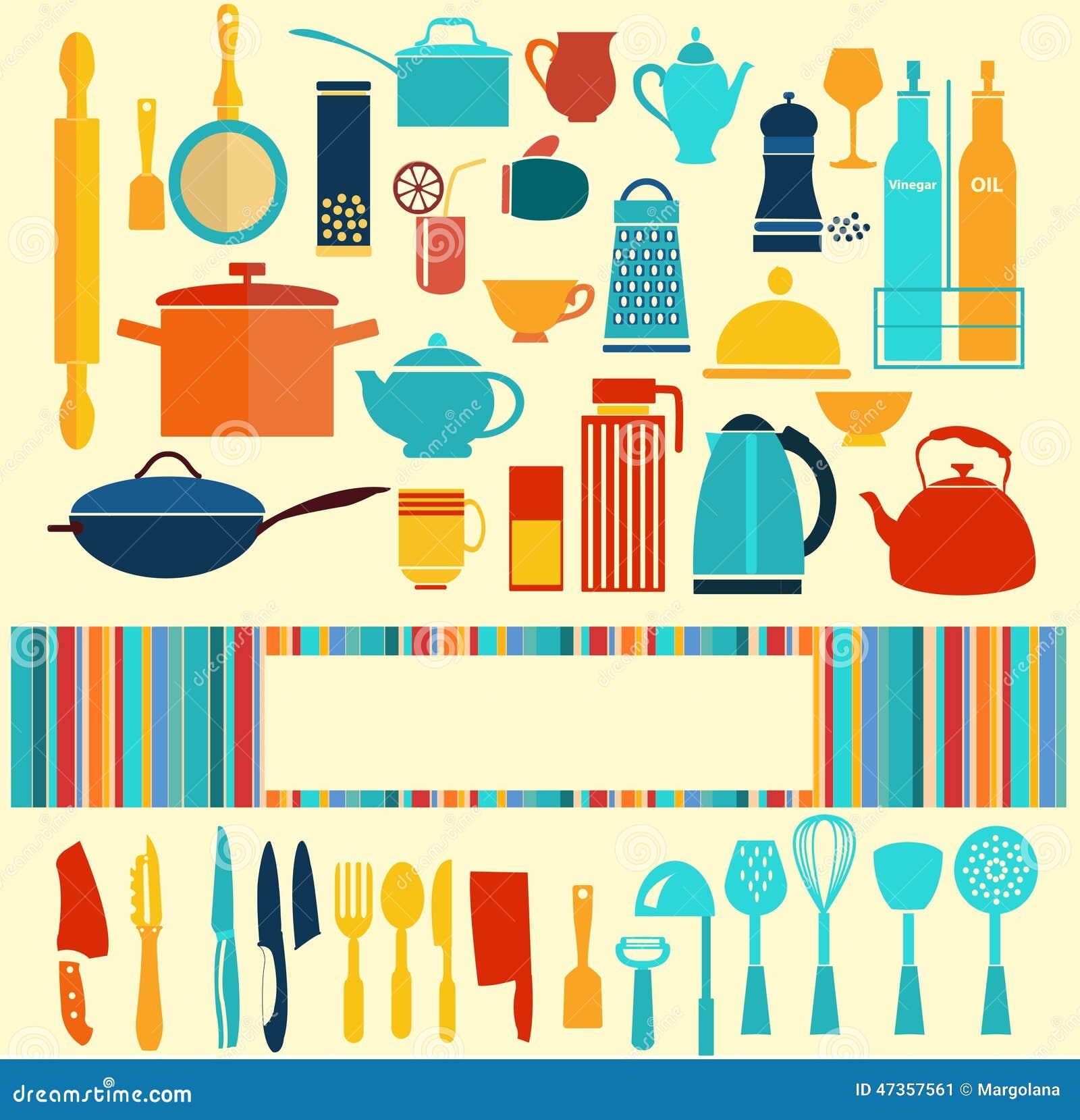 Art culos de cocina fijado fondo ilustraci n del vector for Remates articulos de cocina