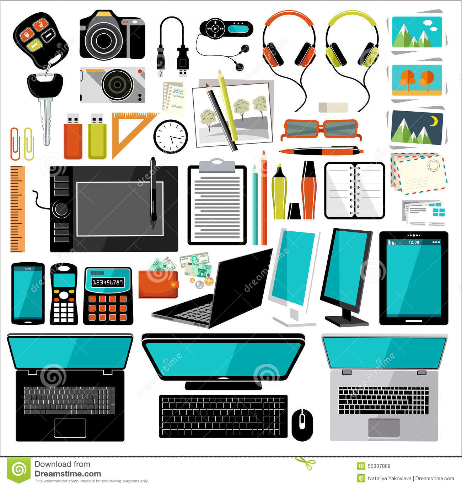 Art culos y accesorios de la oficina ilustraci n del for Accesorios decorativos para oficina