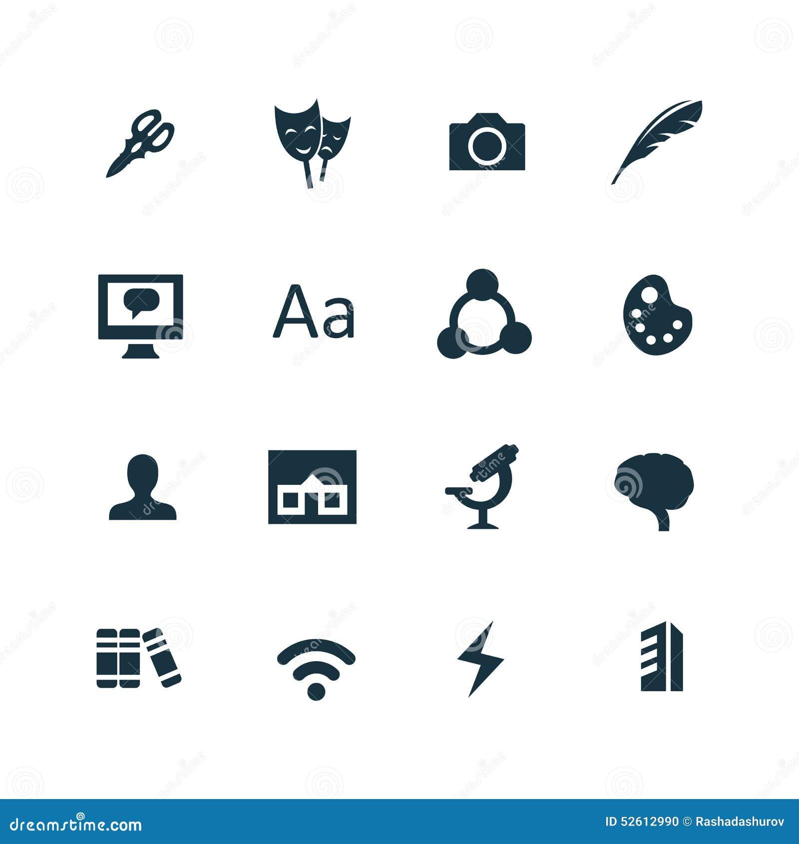 Arte, ícones do projeto ajustados