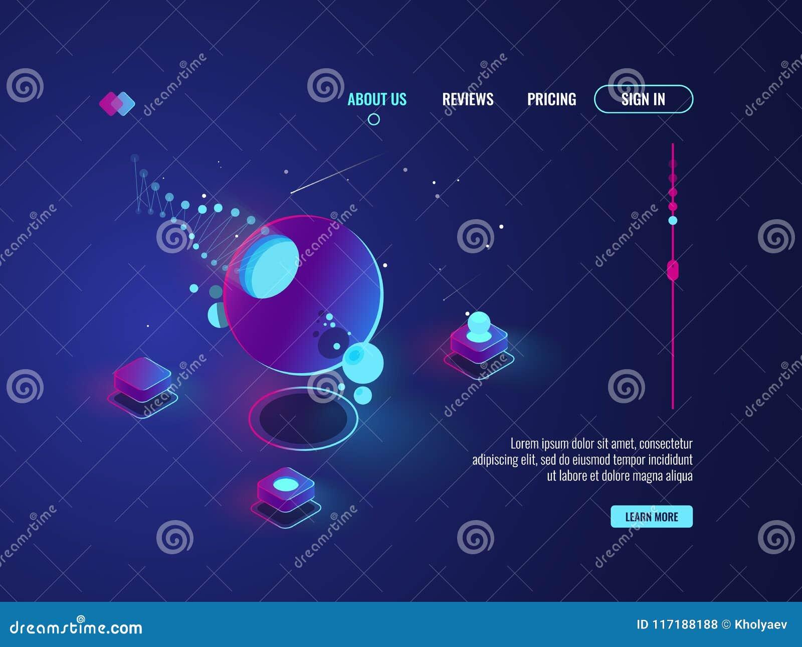 Arte abstrato futurista, nave espacial, planeta, sala do servidor, processo de dados, vetor do conceito do armazenamento da nuvem