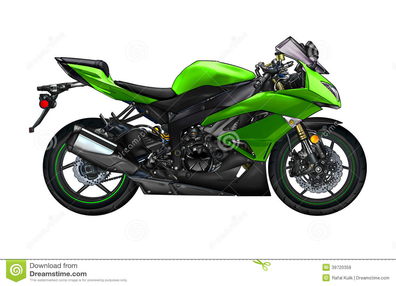 Arte Aislado Color Del Llustration De La Moto Stock De Ilustración