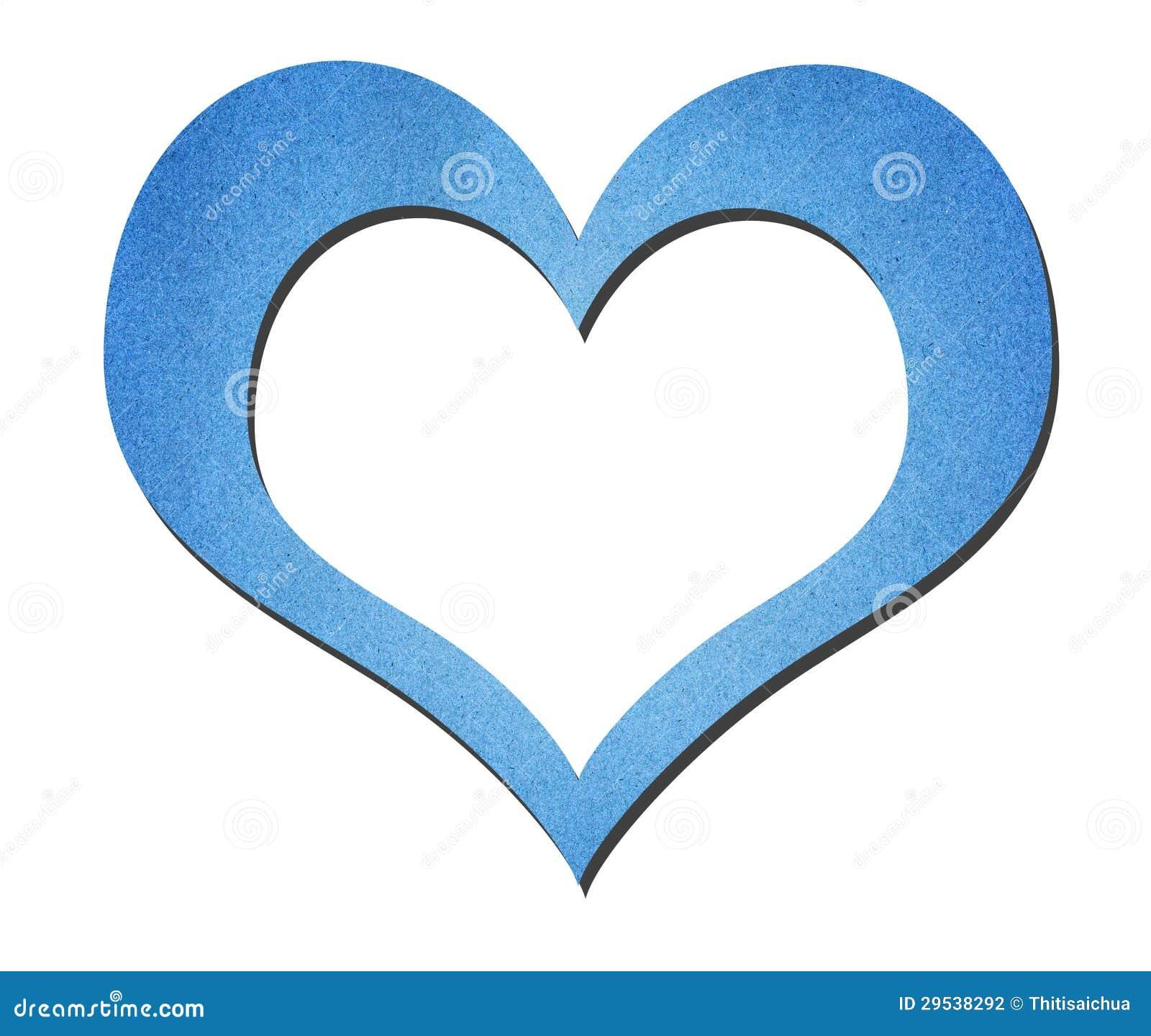 Arte azul do papel do coração isolada no branco