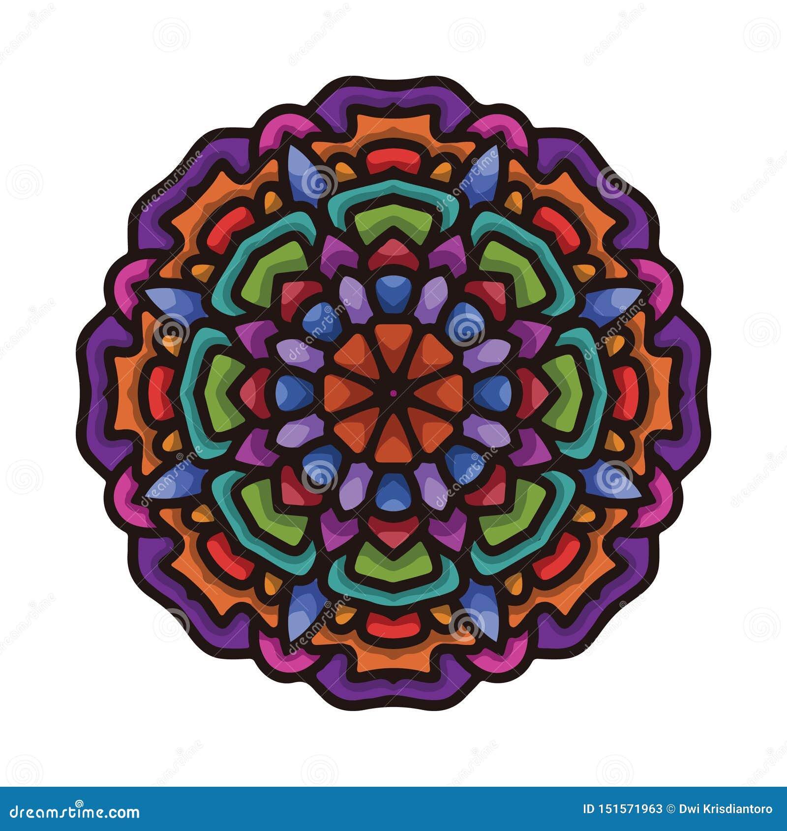 Arte colorida tirada mão da mandala do vetor com o ornamento étnico floral do sumário Ornamento tribal Ilustração da garatuja da