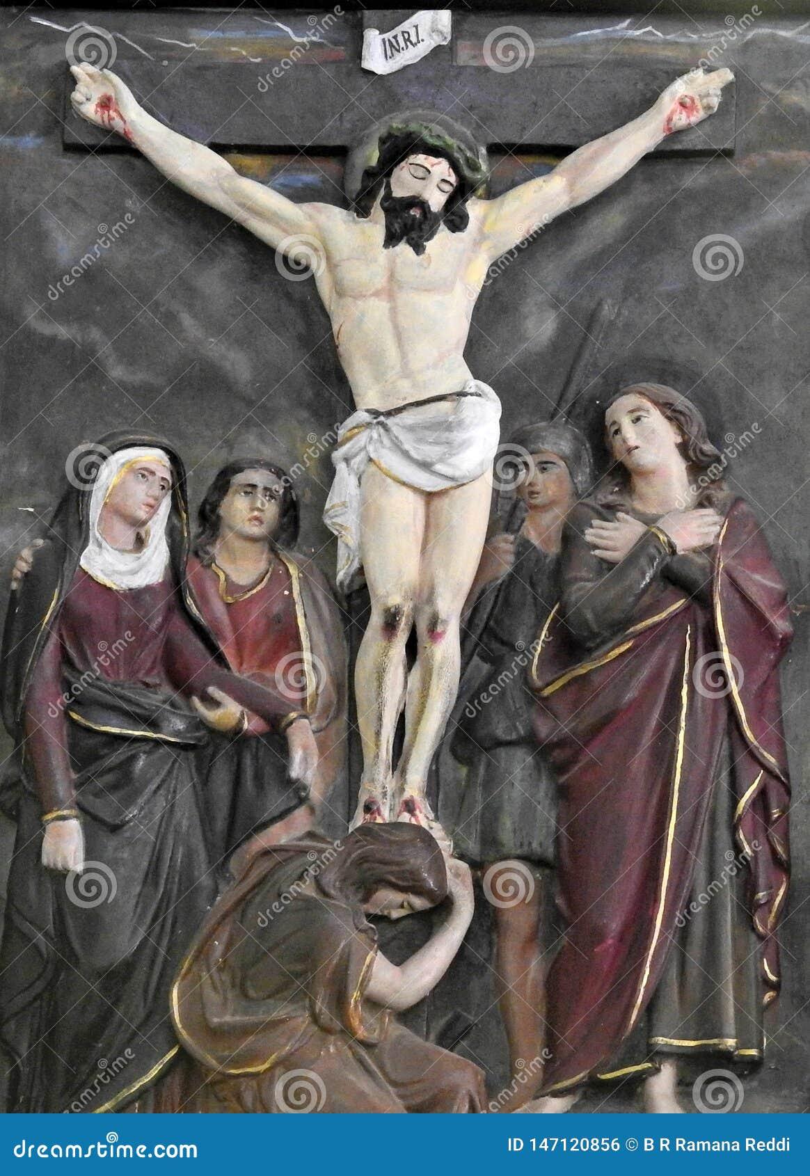 Arte da parede da crucifica??o de Jesus Christ
