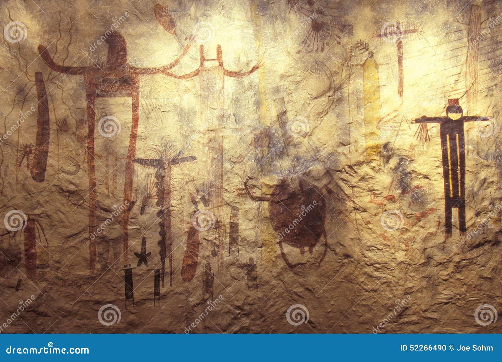 Arte da rocha da imagem gráfica no parque histórico do estado do Seminole, TX