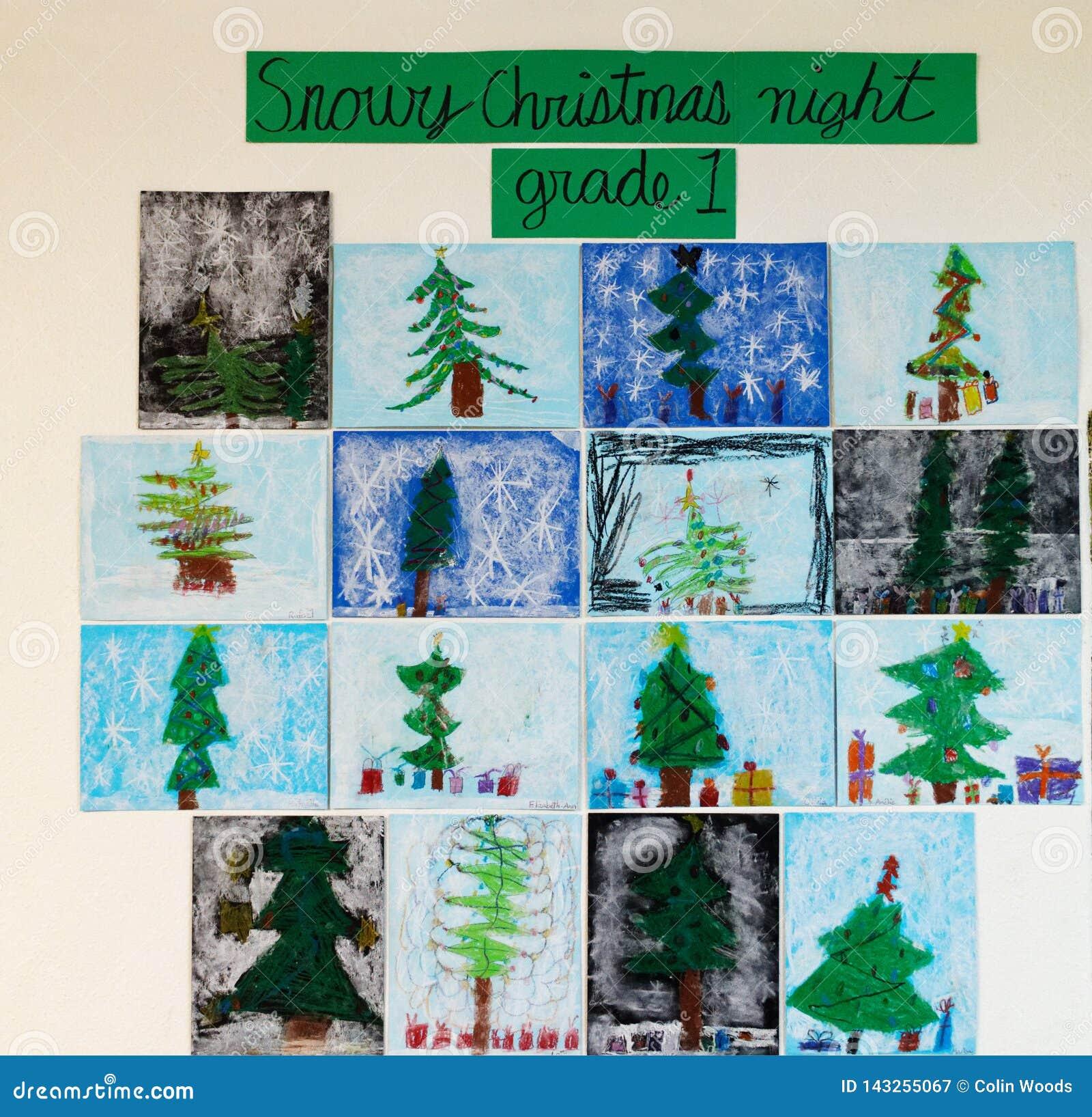A arte das crianças - noite de Natal nevado