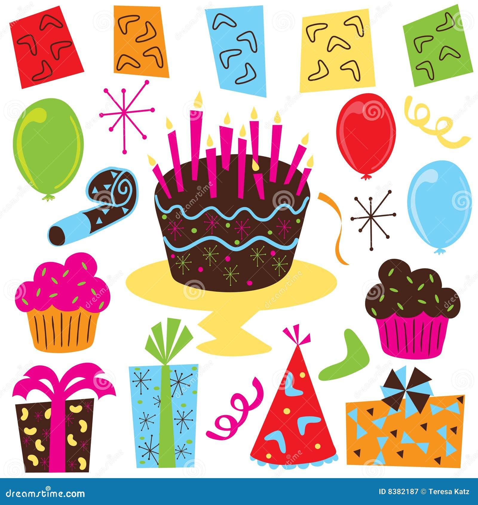 Arte de clip retro de la fiesta de cumpleaños