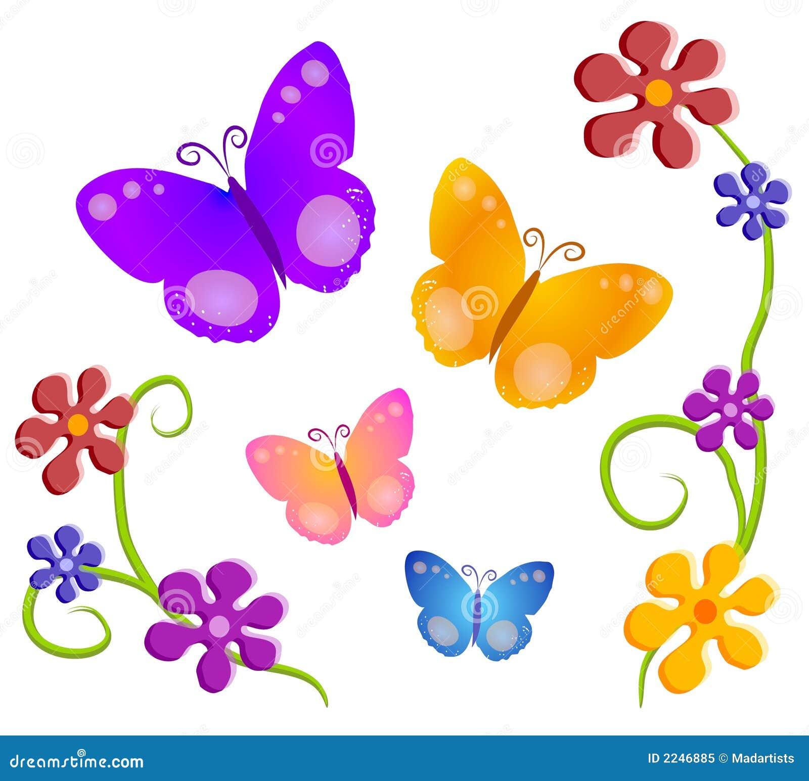 Arte de grampo 1 das flores de borboletas