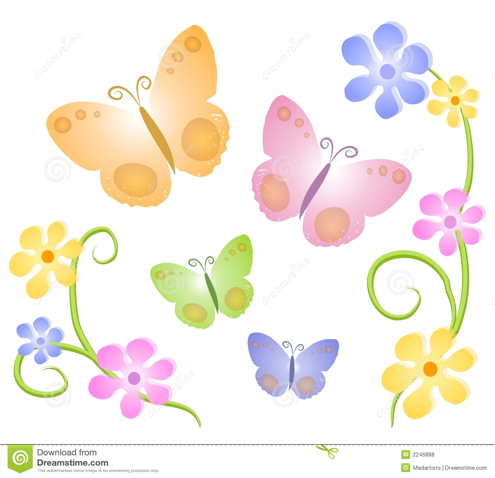 Arte de grampo 2 das flores de borboletas
