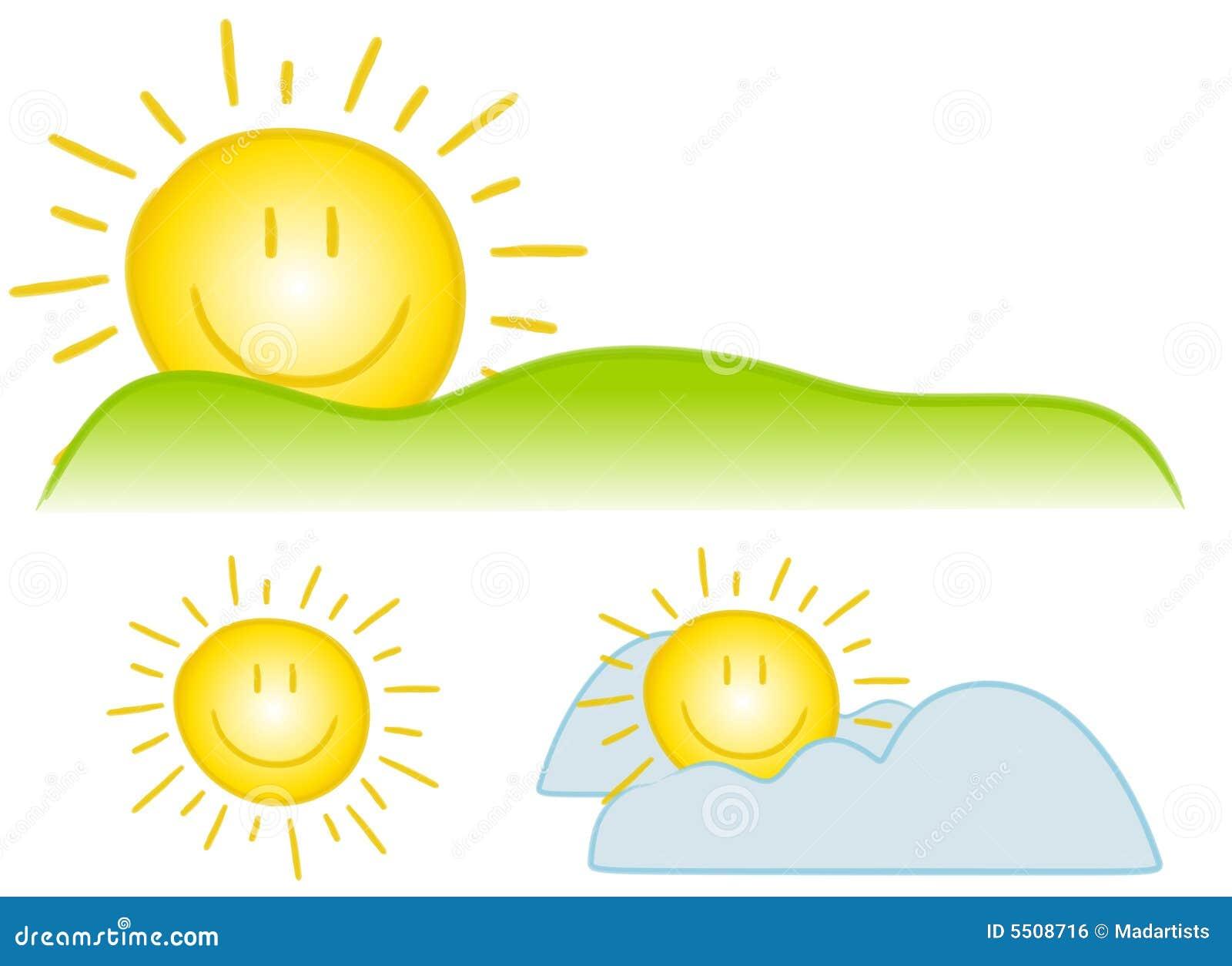 Arte de grampo de Sun do smiley