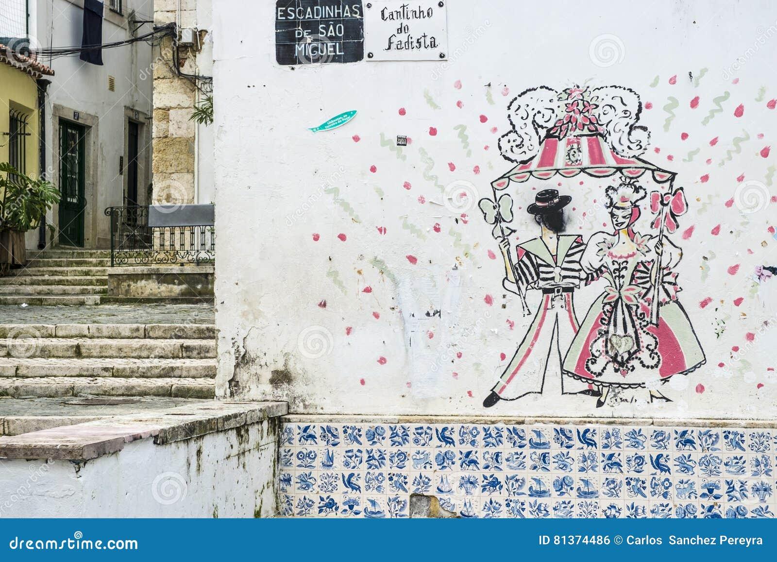Arte de la calle en el distrito de Alfama en Lisboa