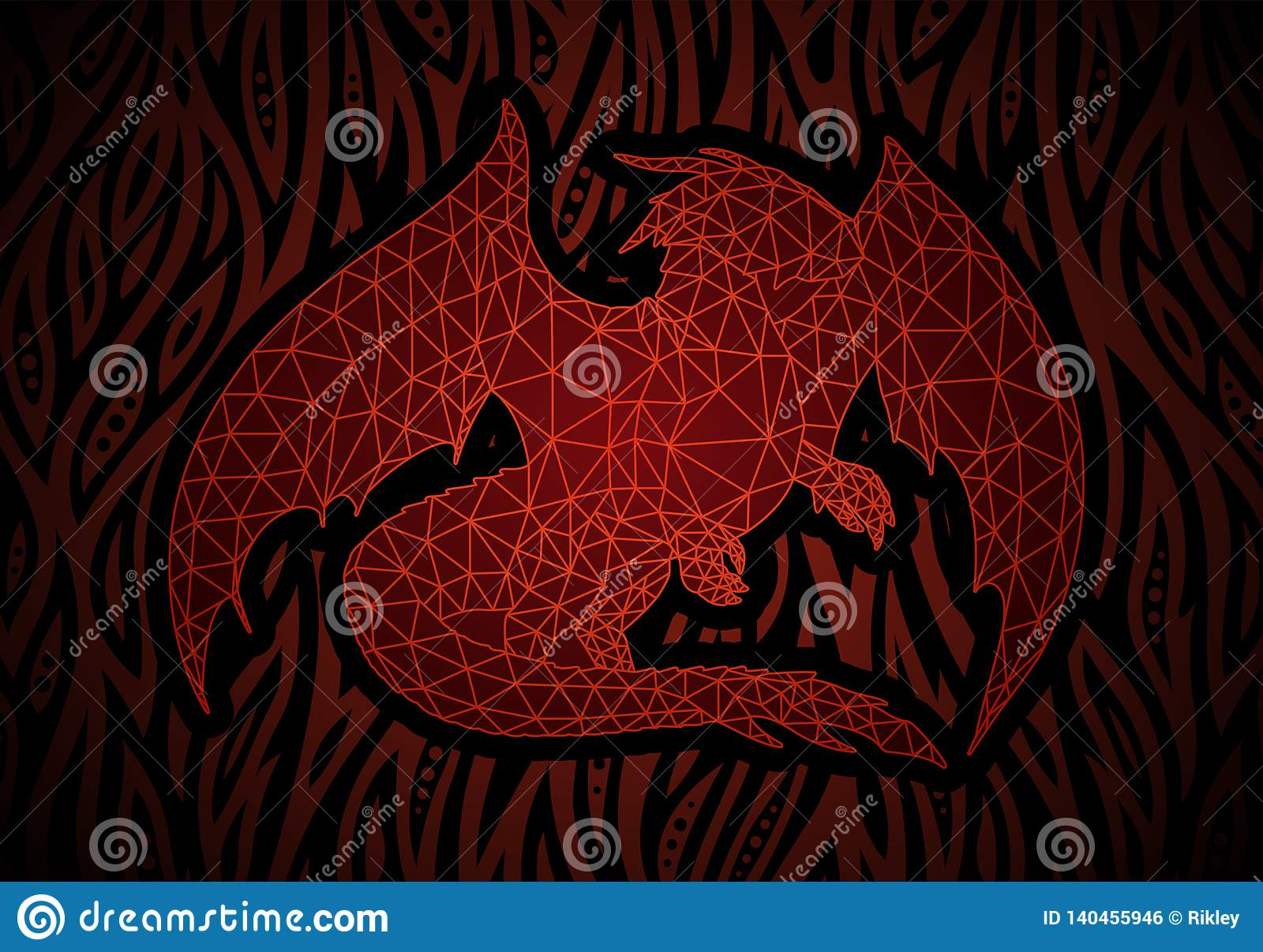 Arte de la fantasía con el dragón rojo en el fuego