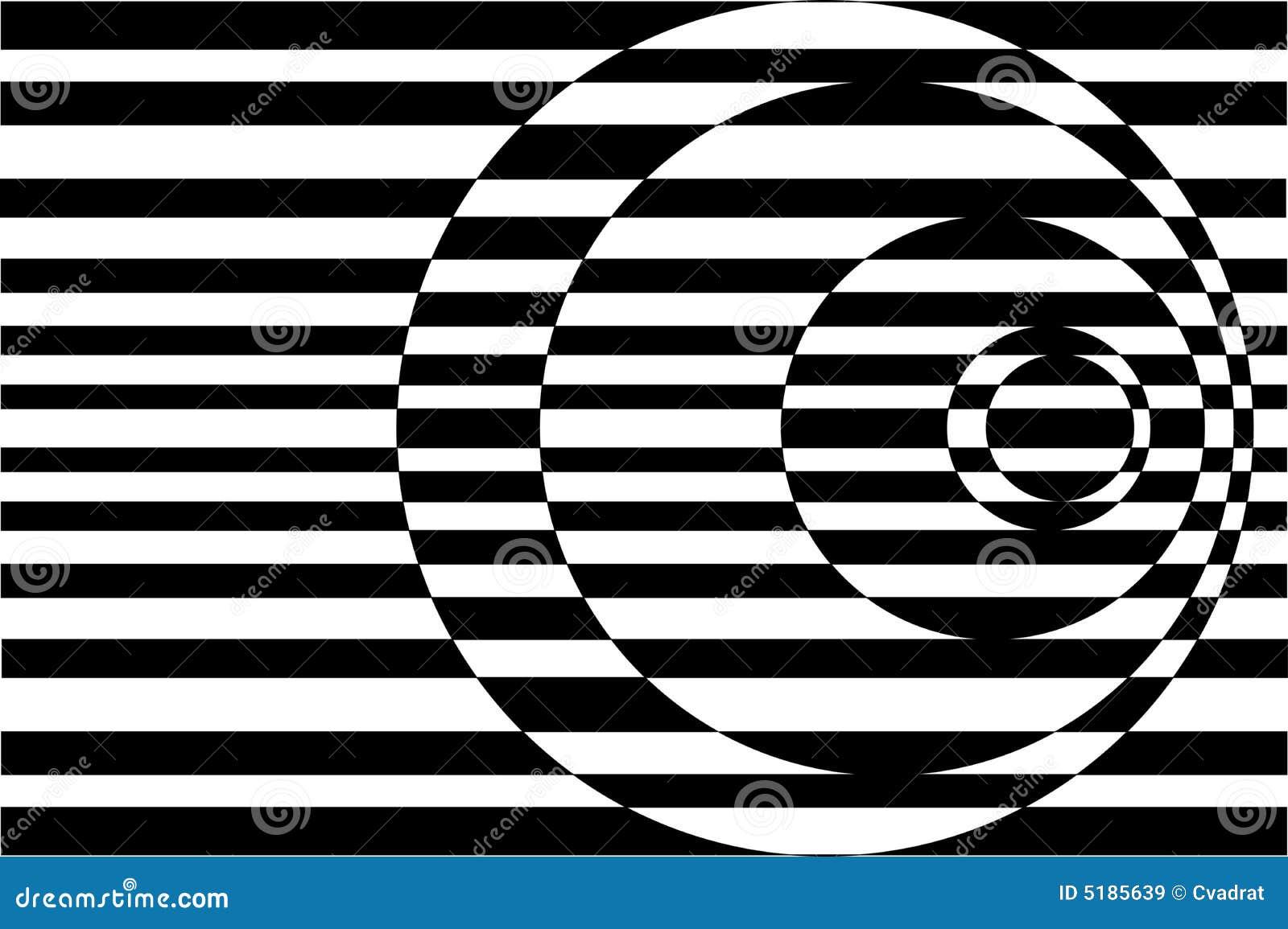 Arte de Op. Sys. que pone en contraste negro/blanco de los círculos concéntricos