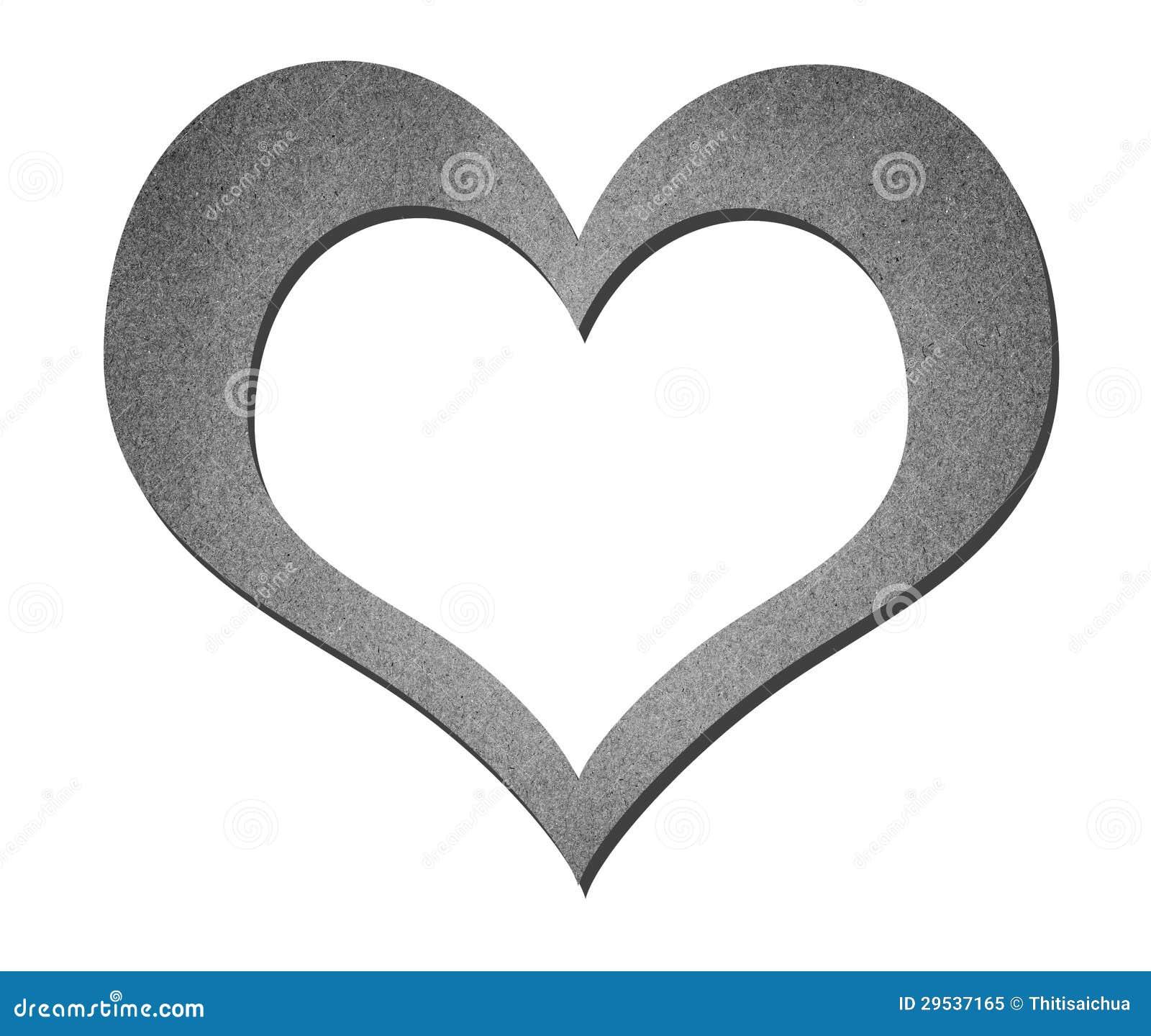 Arte de papel do coração em preto e branco