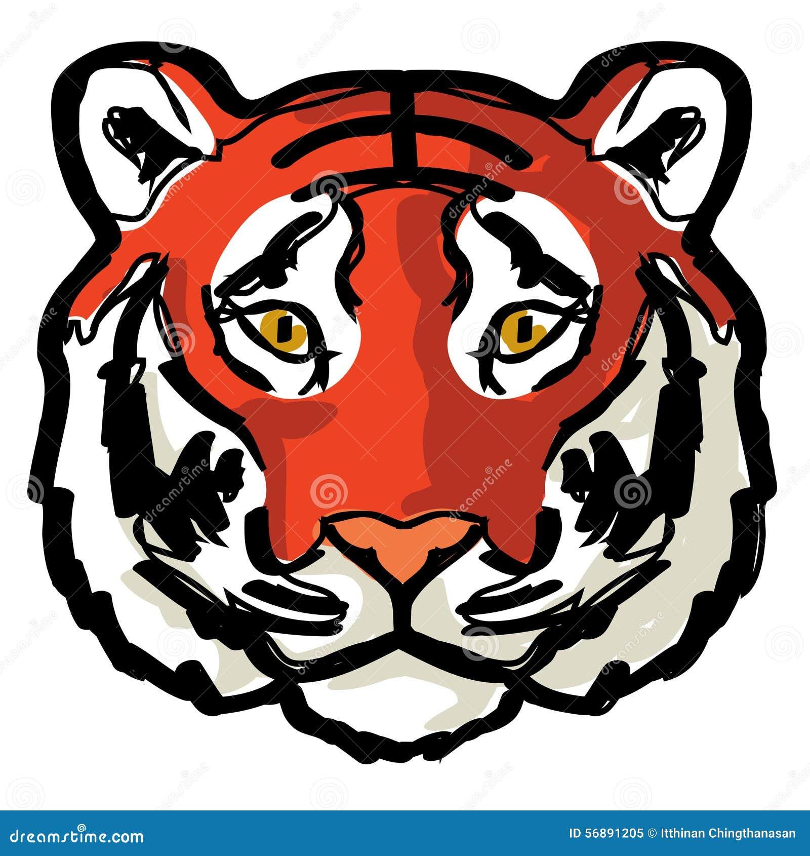 Arte Del Dibujo Del Contorno Del Tigre De La Cara Ilustración Del