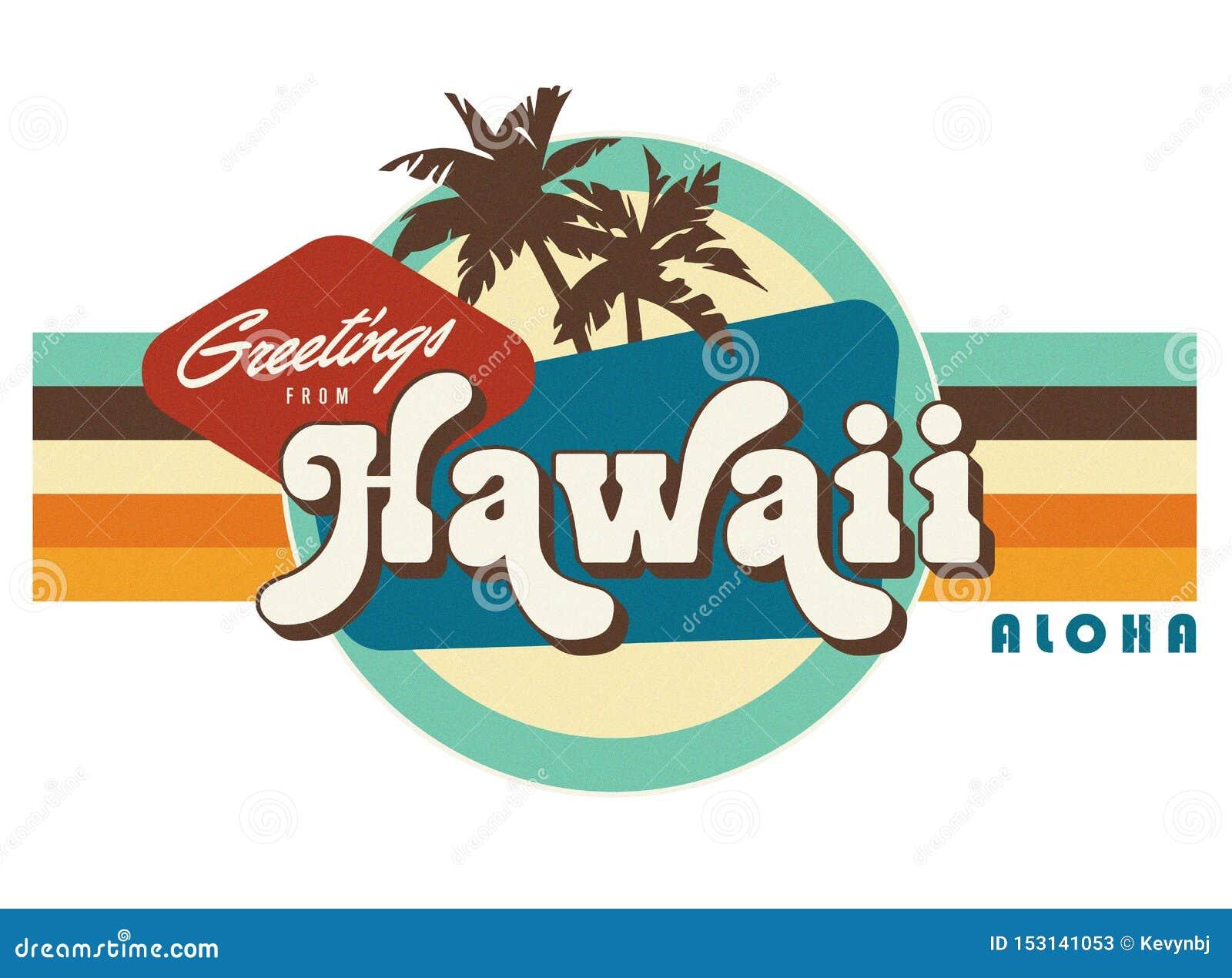 Arte del diseño de la camiseta del estilo de la postal del vintage de Hawaii