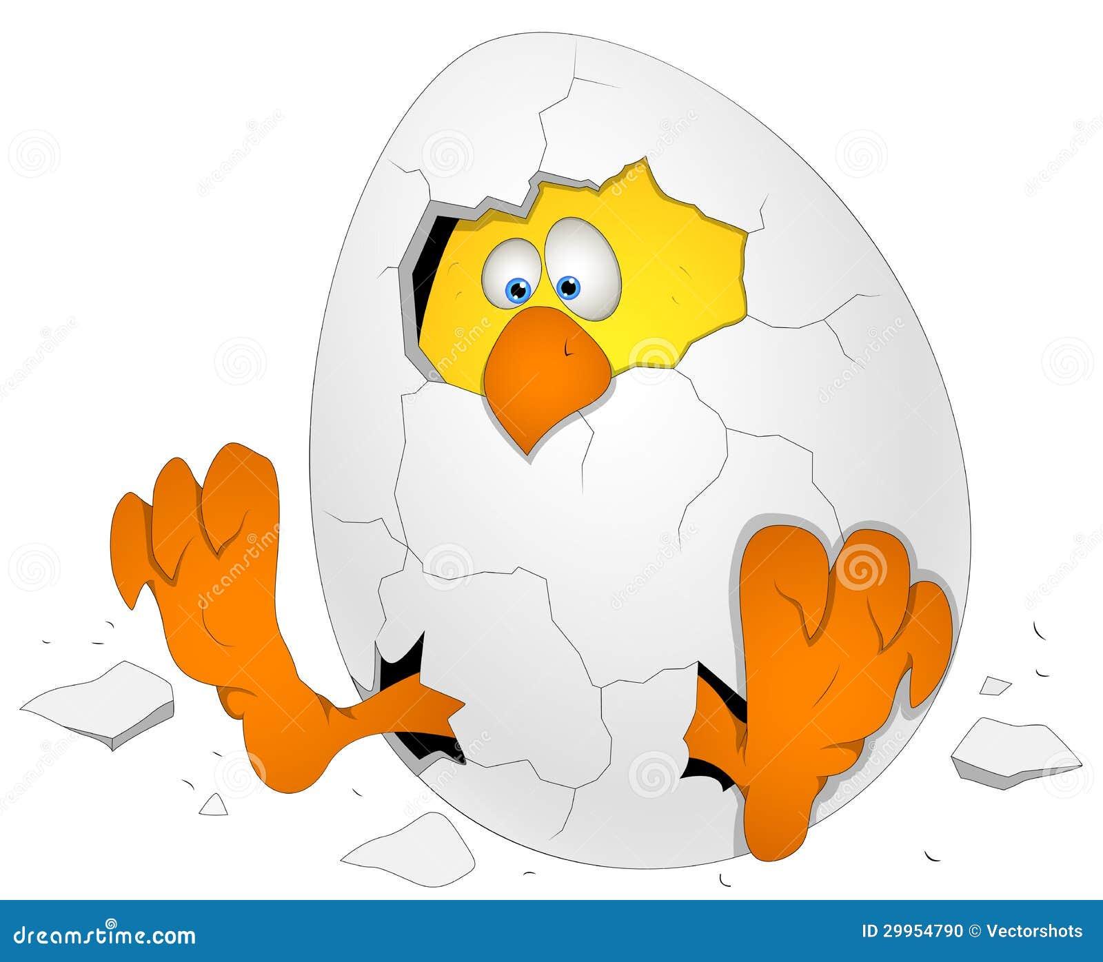 Uovo di pasqua con il pollo personaggio dei cartoni