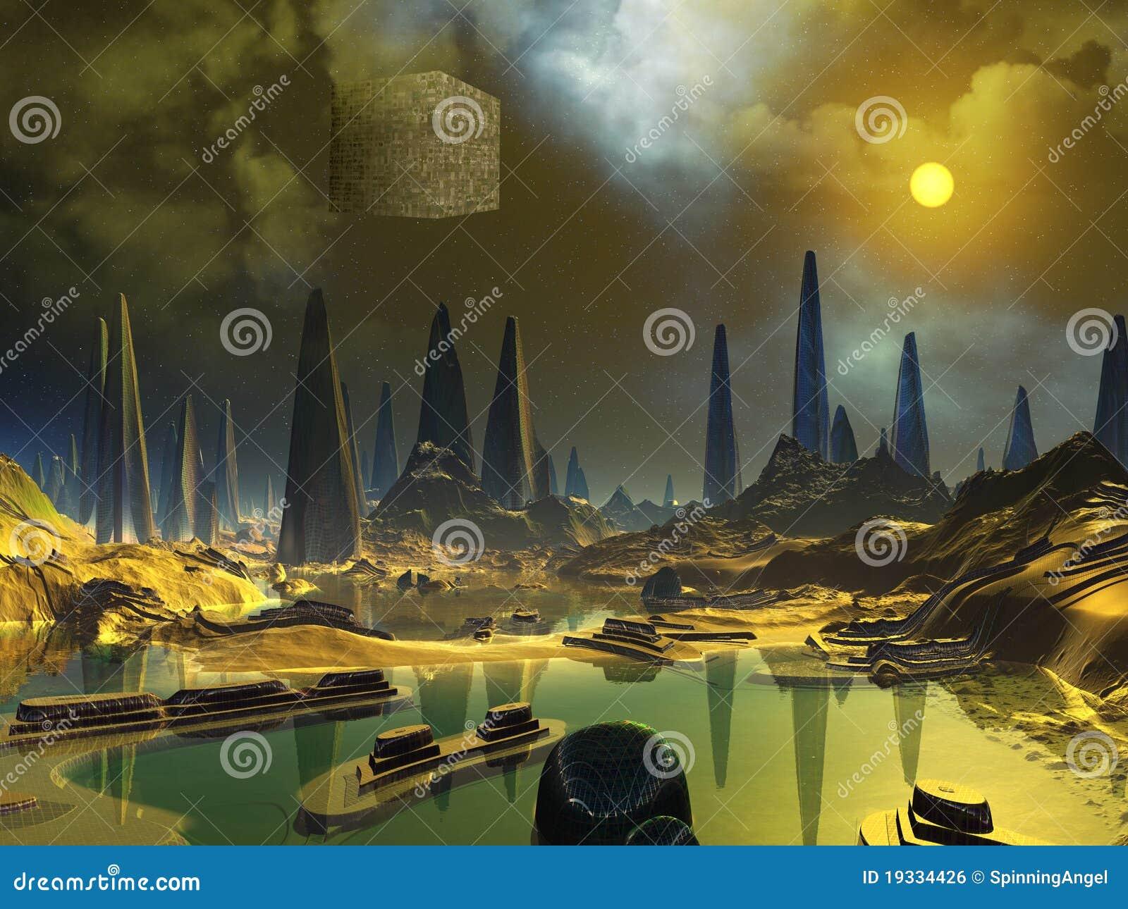 Arte del espacio del cubo sobre el mundo extranjero del agua