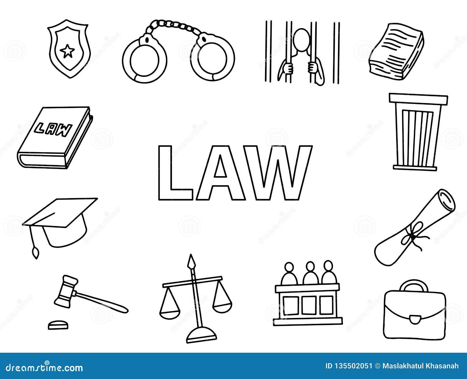 Arte del garabato de la ley con vector dibujado mano del icono del estilo del esquema que bosqueja