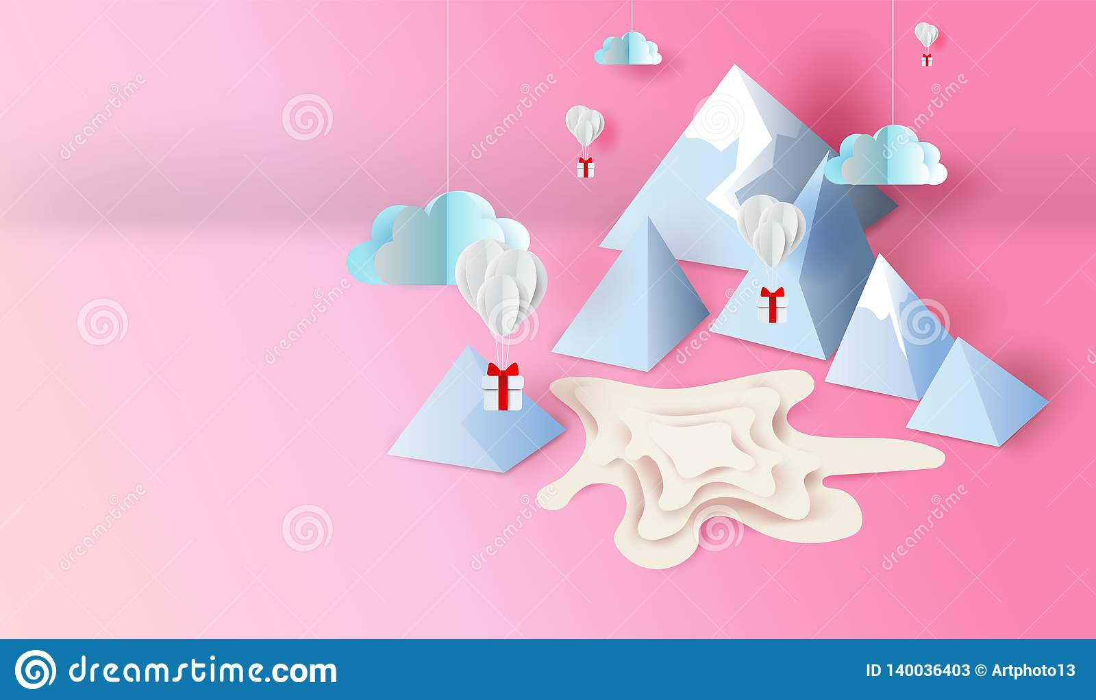 Arte del papel 3d y diseño del arte de la charca de la escena del Mountain View, balones de aire con el flotador del regalo para