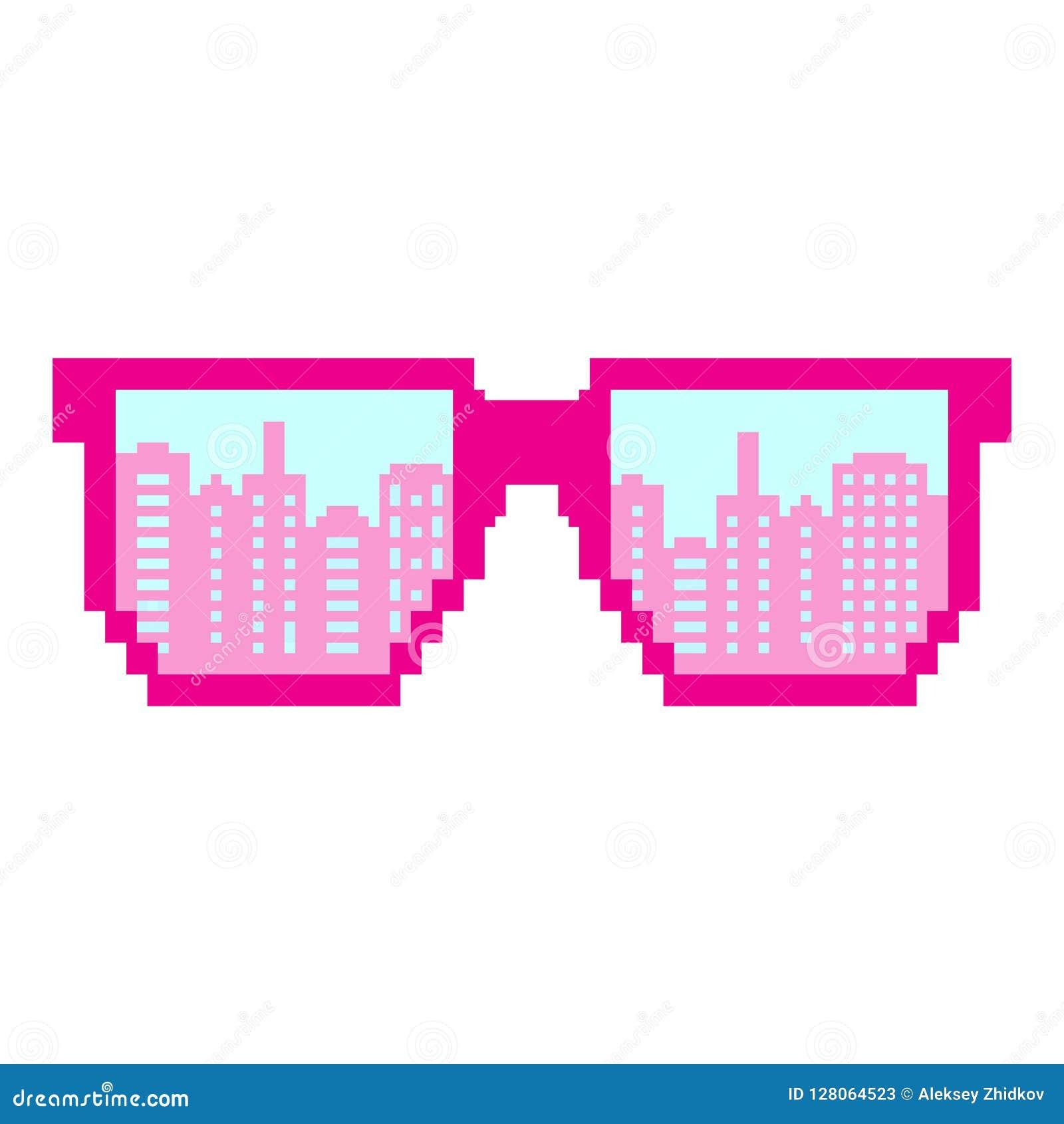Arte del pixel Gafas de sol del pixel Estilo plano del diseño Icono plano moderno en colores elegantes Reflexión de una ciudad gr