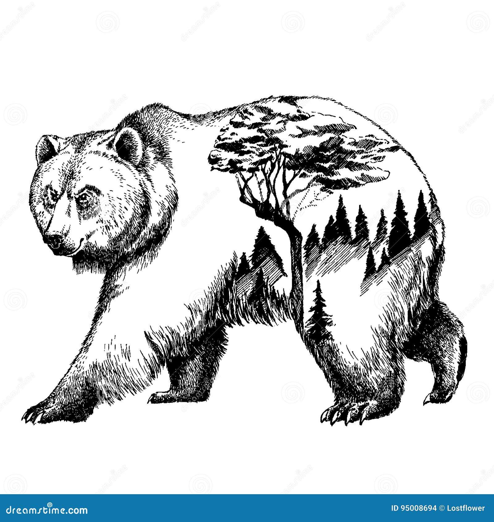 Arte del tatuaggio di doppia esposizione dell 39 orso di for Affitti cabina grande lago orso