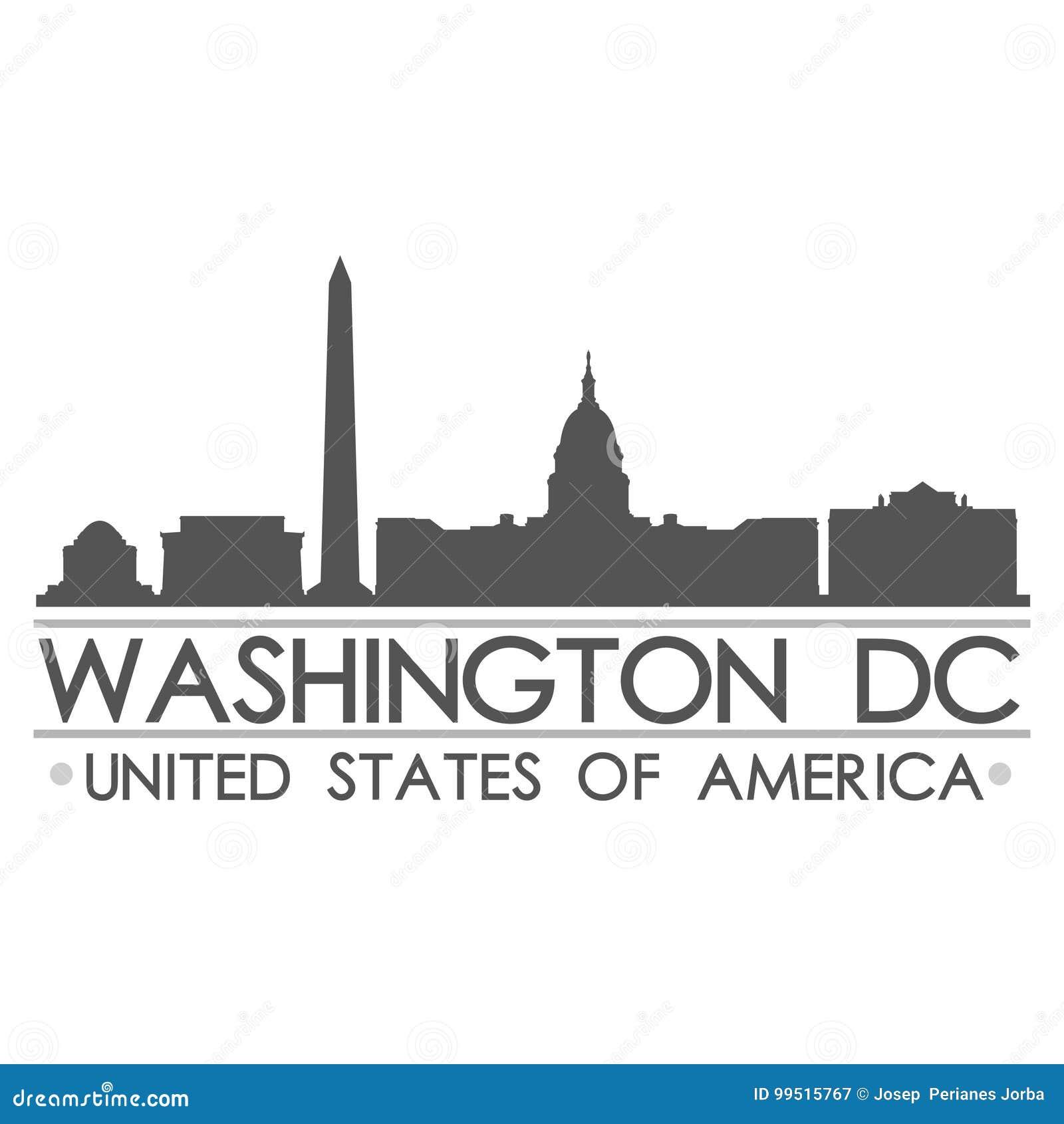 Arte del vector de la ciudad del diseño de la silueta del horizonte del Washington DC