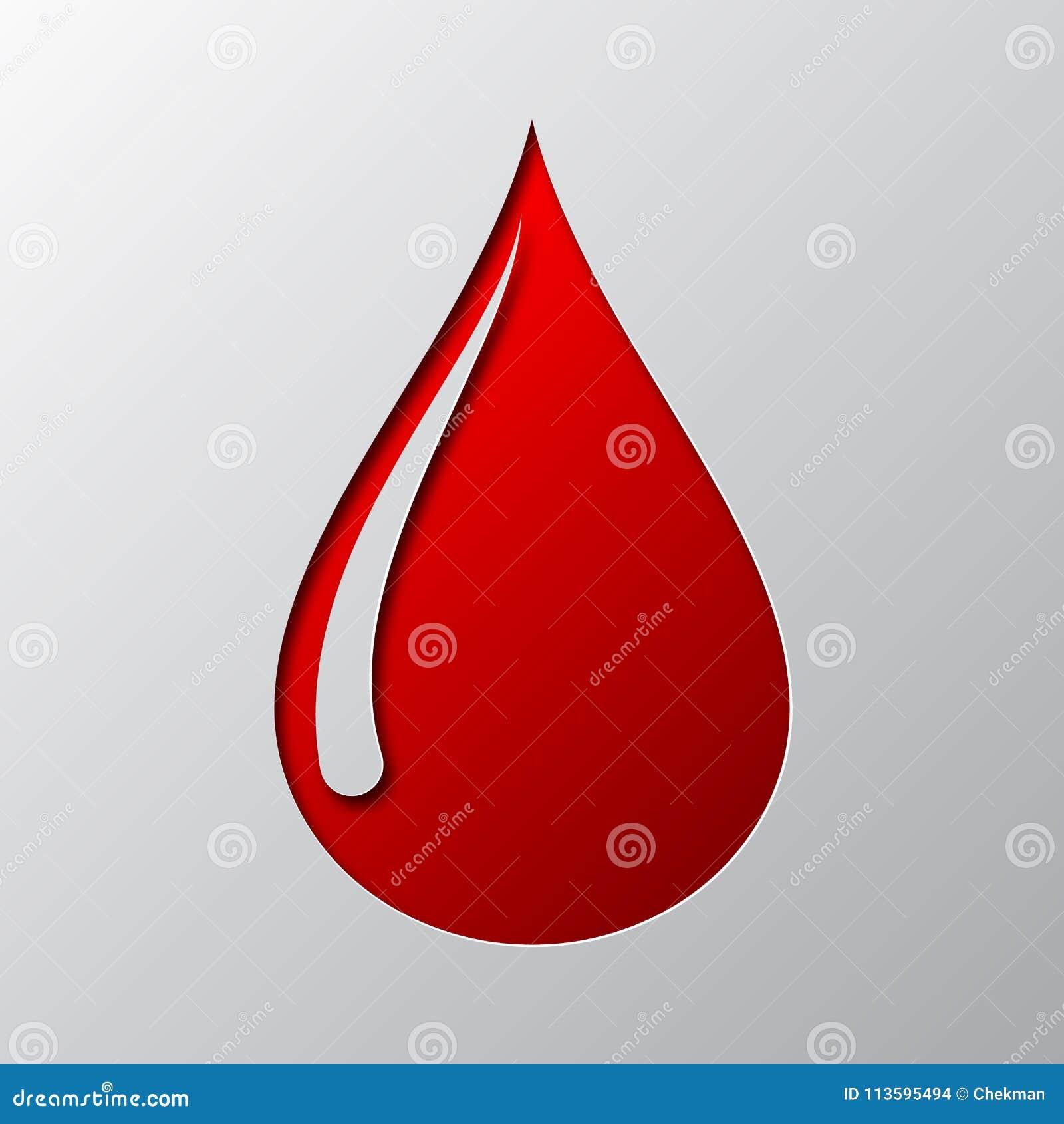 Arte di carta dell icona rosso sangue di goccia Illustrazione di vettore