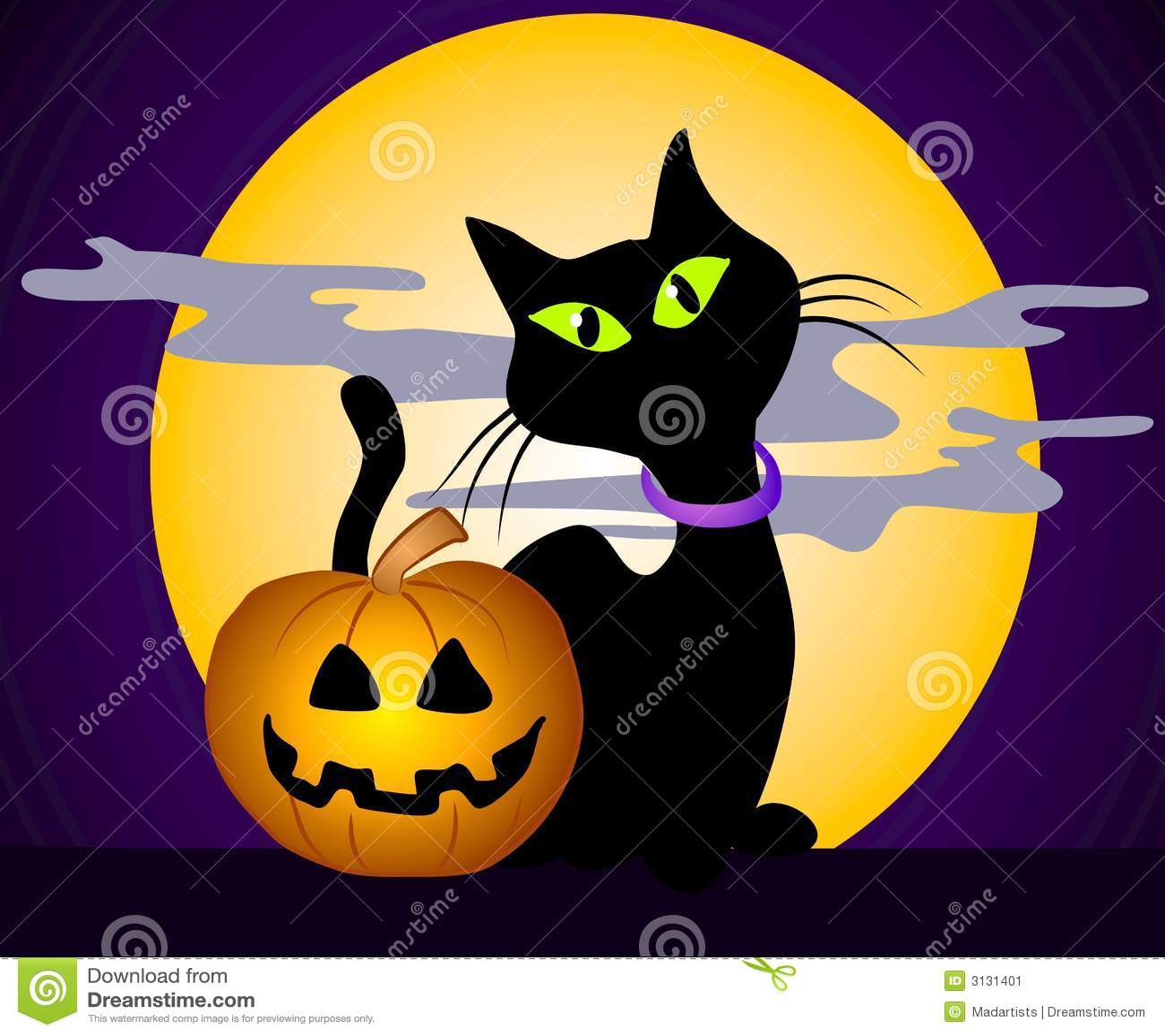 Arte di clip di halloween del gatto nero 3 illustrazione for Gatto clipart