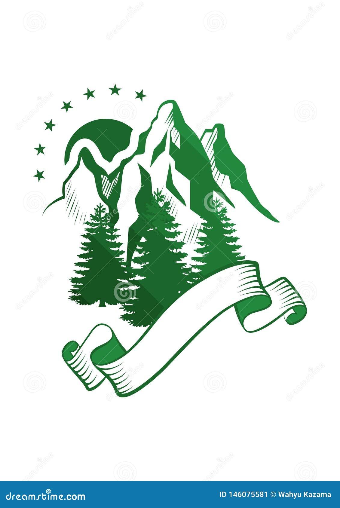 Arte di vettore dell illustrazione di sillouhette di verde di logo della montagna