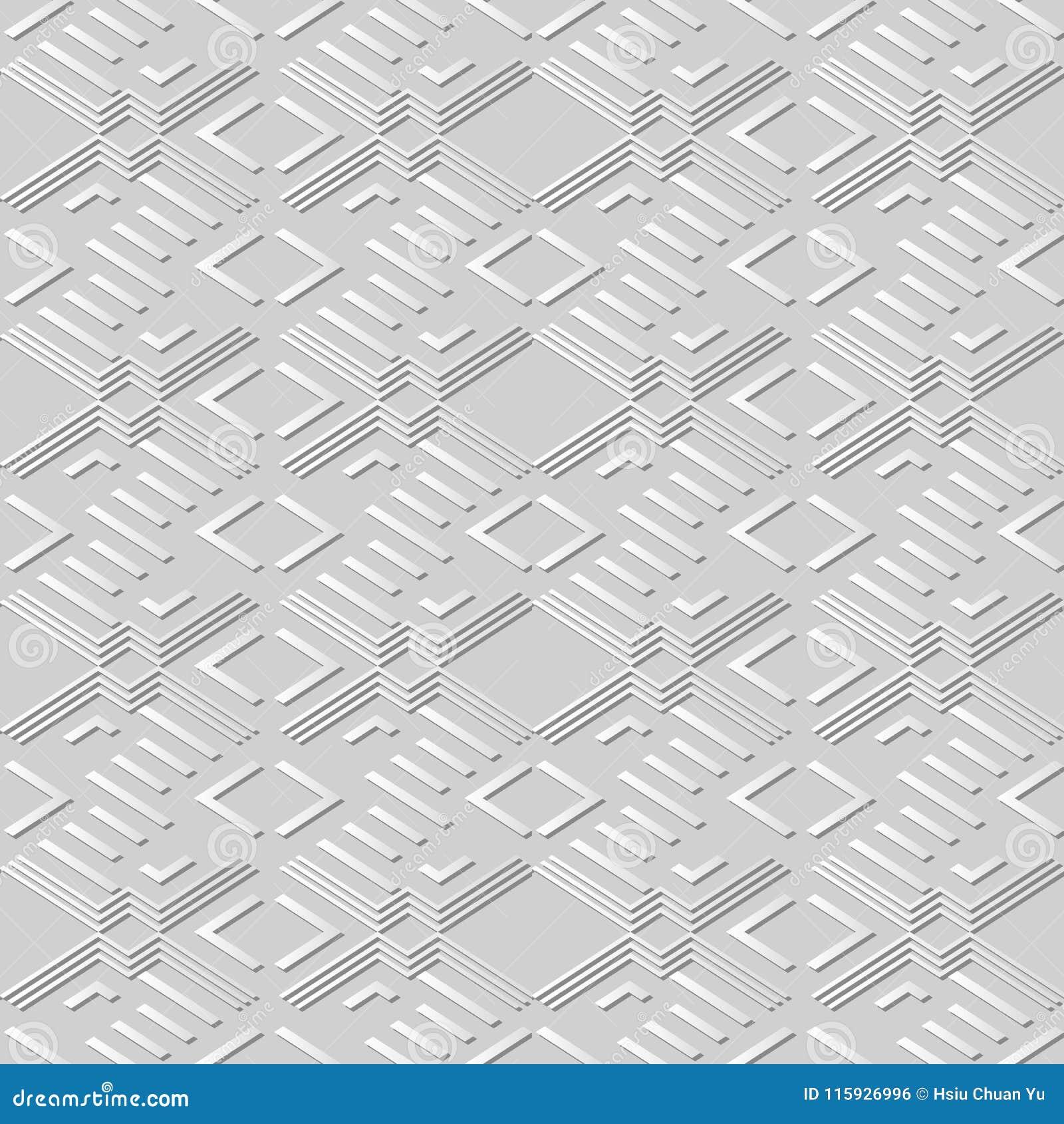 Arte Diamond Check Cross Geometry Frame del Libro Bianco 3D