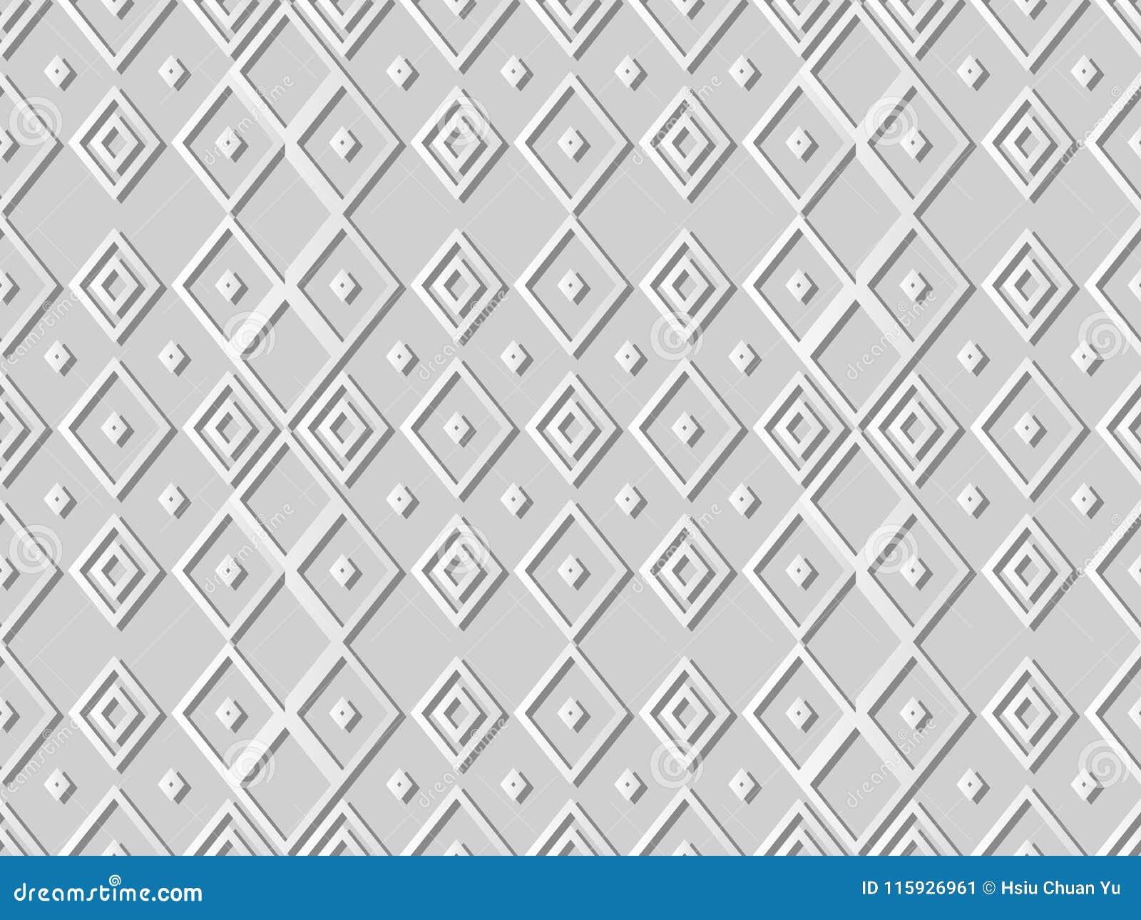 Arte Diamond Check Cross Rhomb Geometry del Libro Bianco 3D