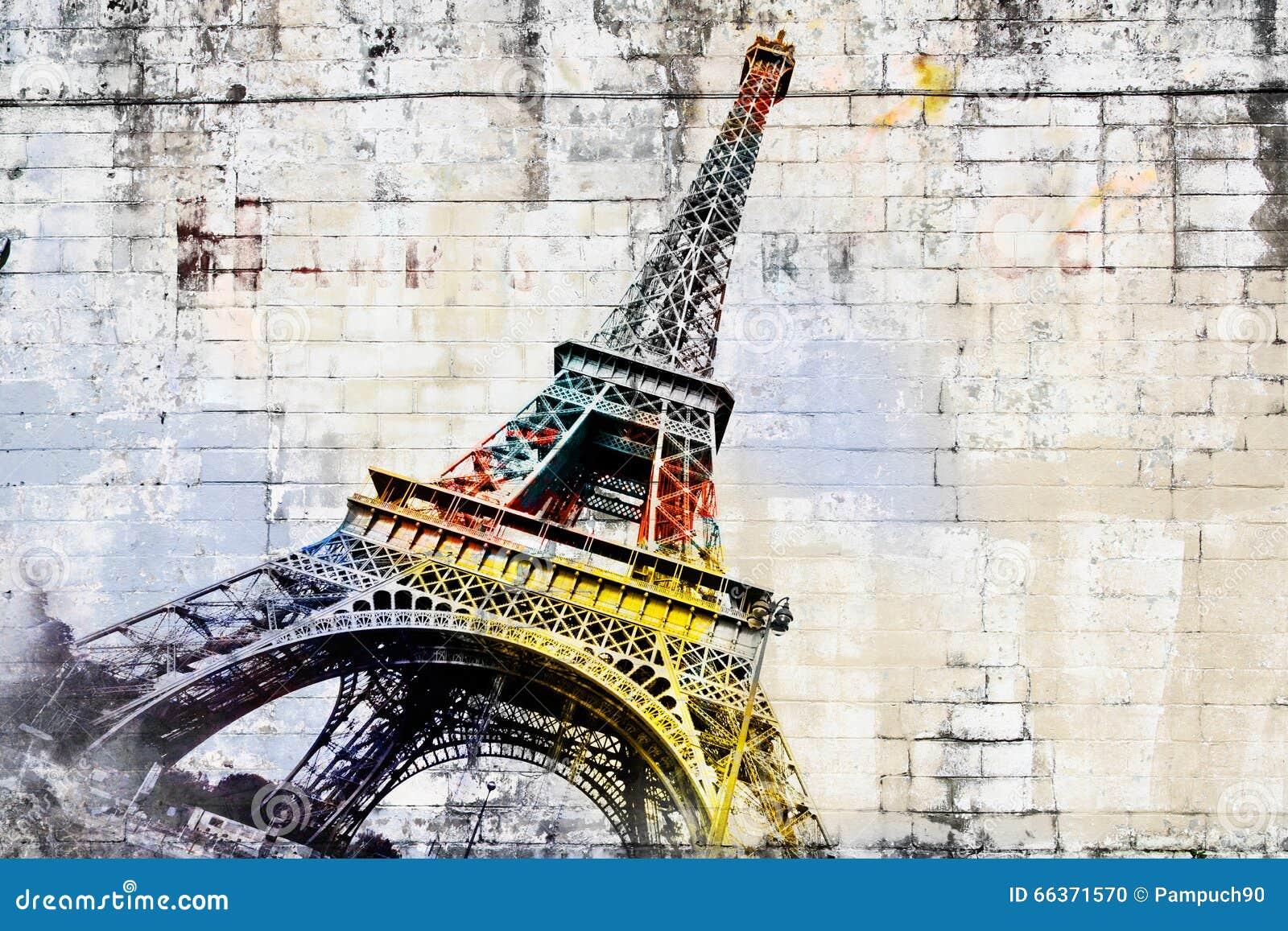 Arte digital abstracto de la torre Eiffel en París Arte de la calle