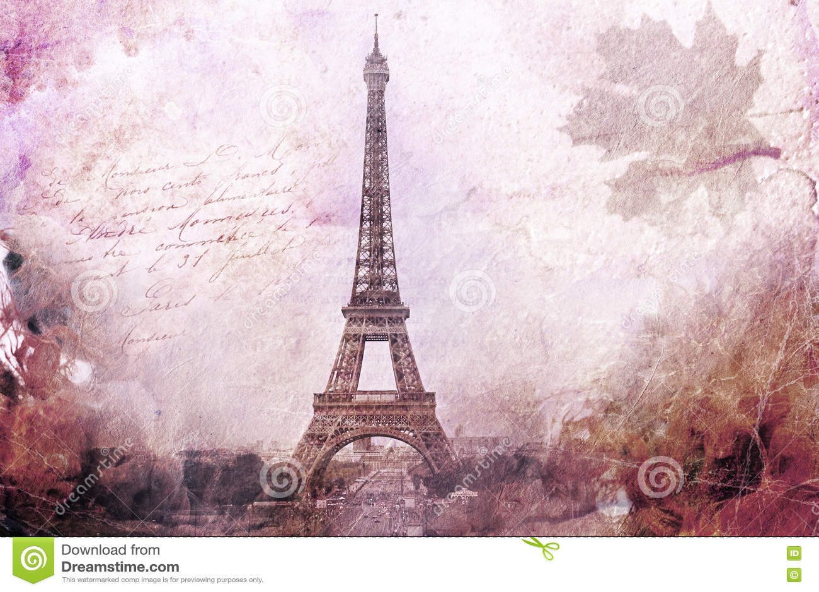 Arte digital abstracto de la torre Eiffel en París, púrpura Papel viejo Postal, alta resolución, imprimible en lona
