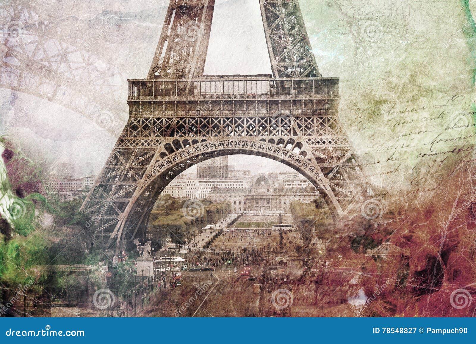 Arte digital abstracto de la torre Eiffel en París Papel viejo Arte de Digitaces, alta resolución, imprimible en lona