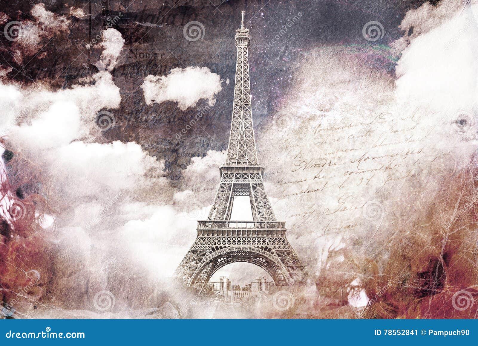 Arte digital abstracto de la torre Eiffel en París Papel viejo Postal, alta resolución, imprimible en lona